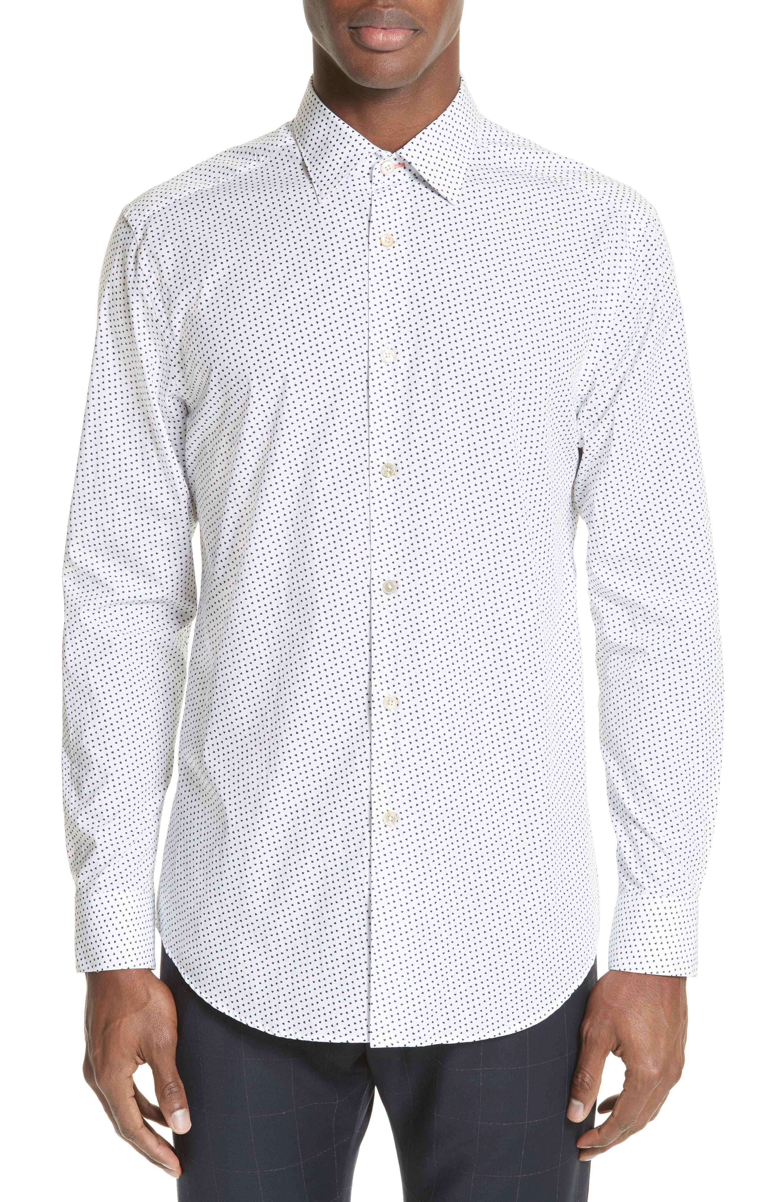 Heart Print Sport Shirt,                         Main,                         color, White
