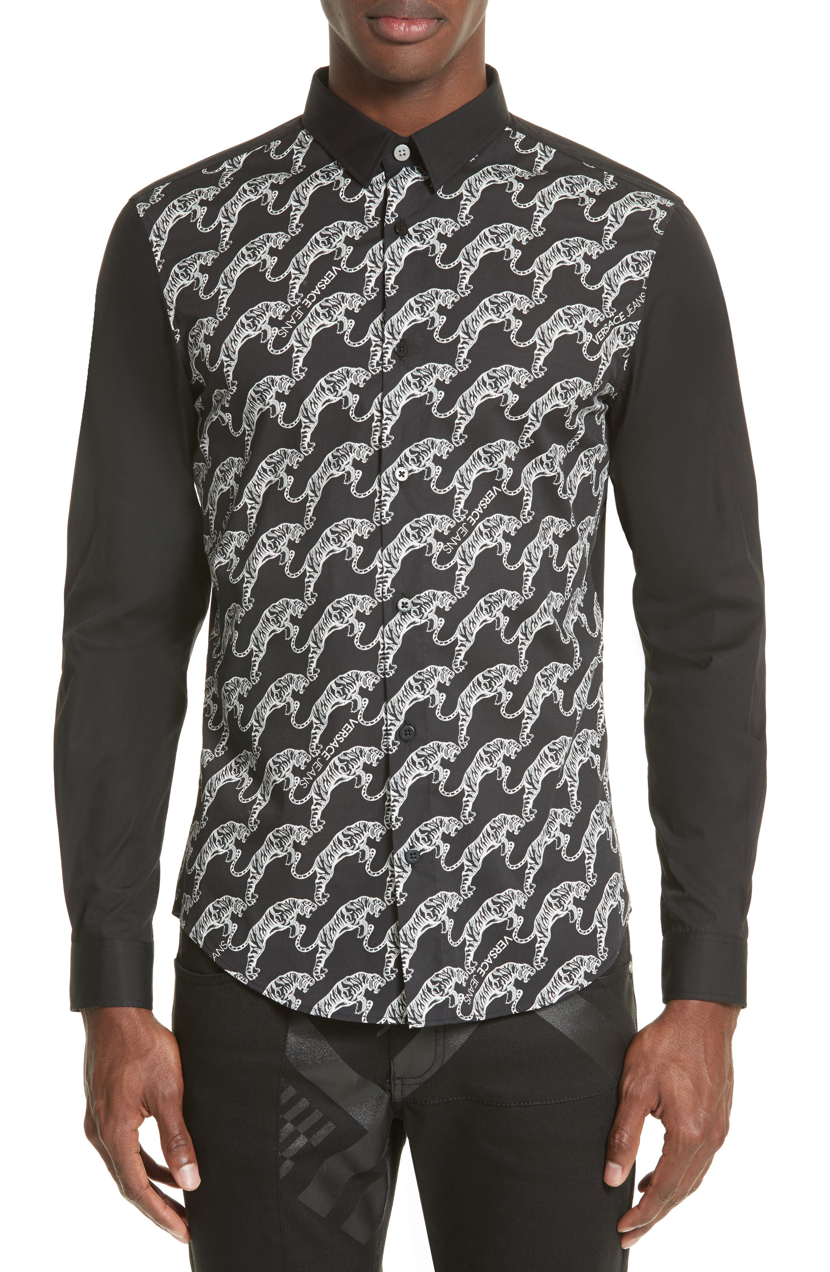 Tiger Print Sport Shirt,                             Main thumbnail 1, color,                             Black