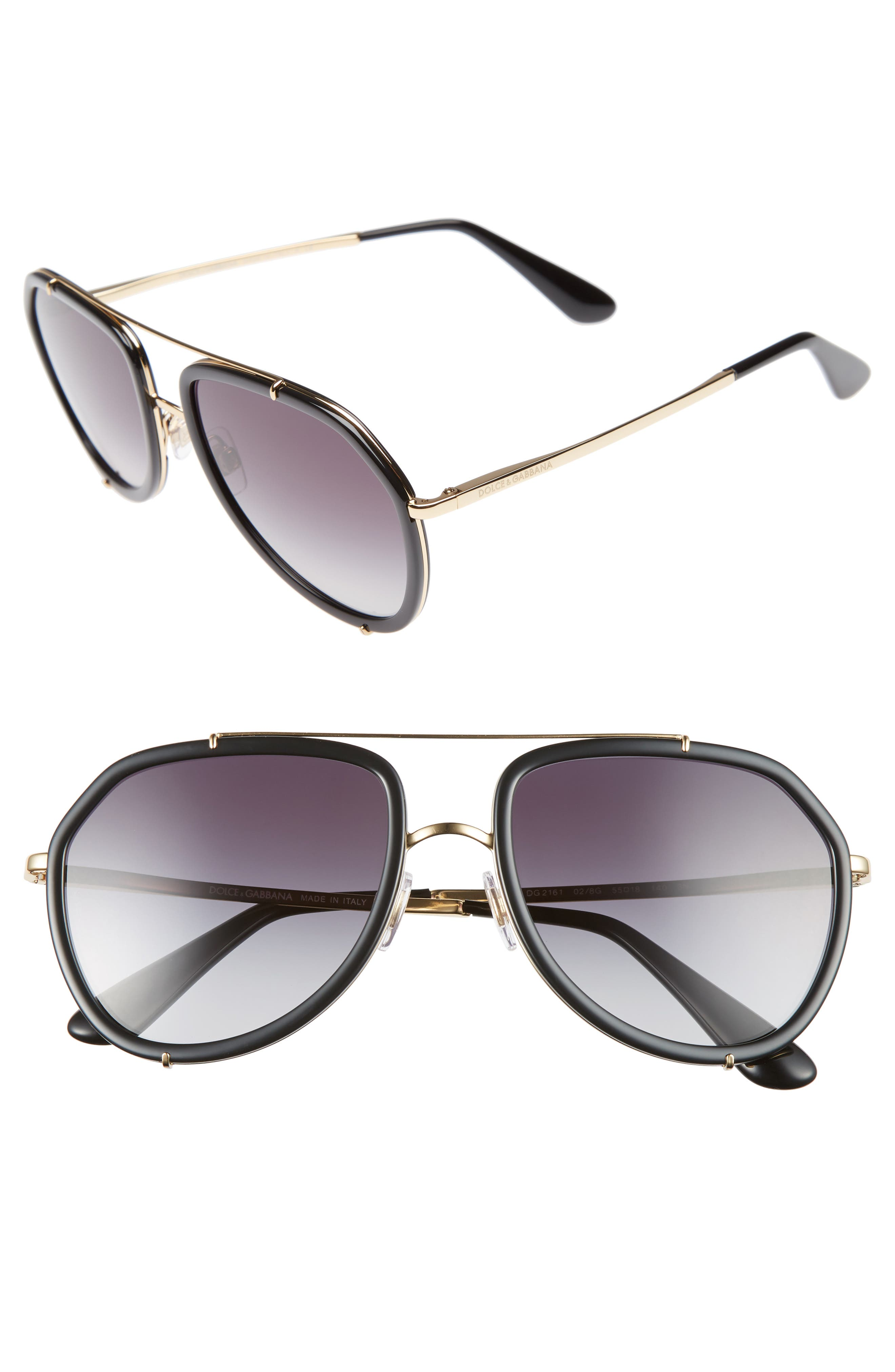 DOLCE&GABBANA 55mm Aviator Sunglasses