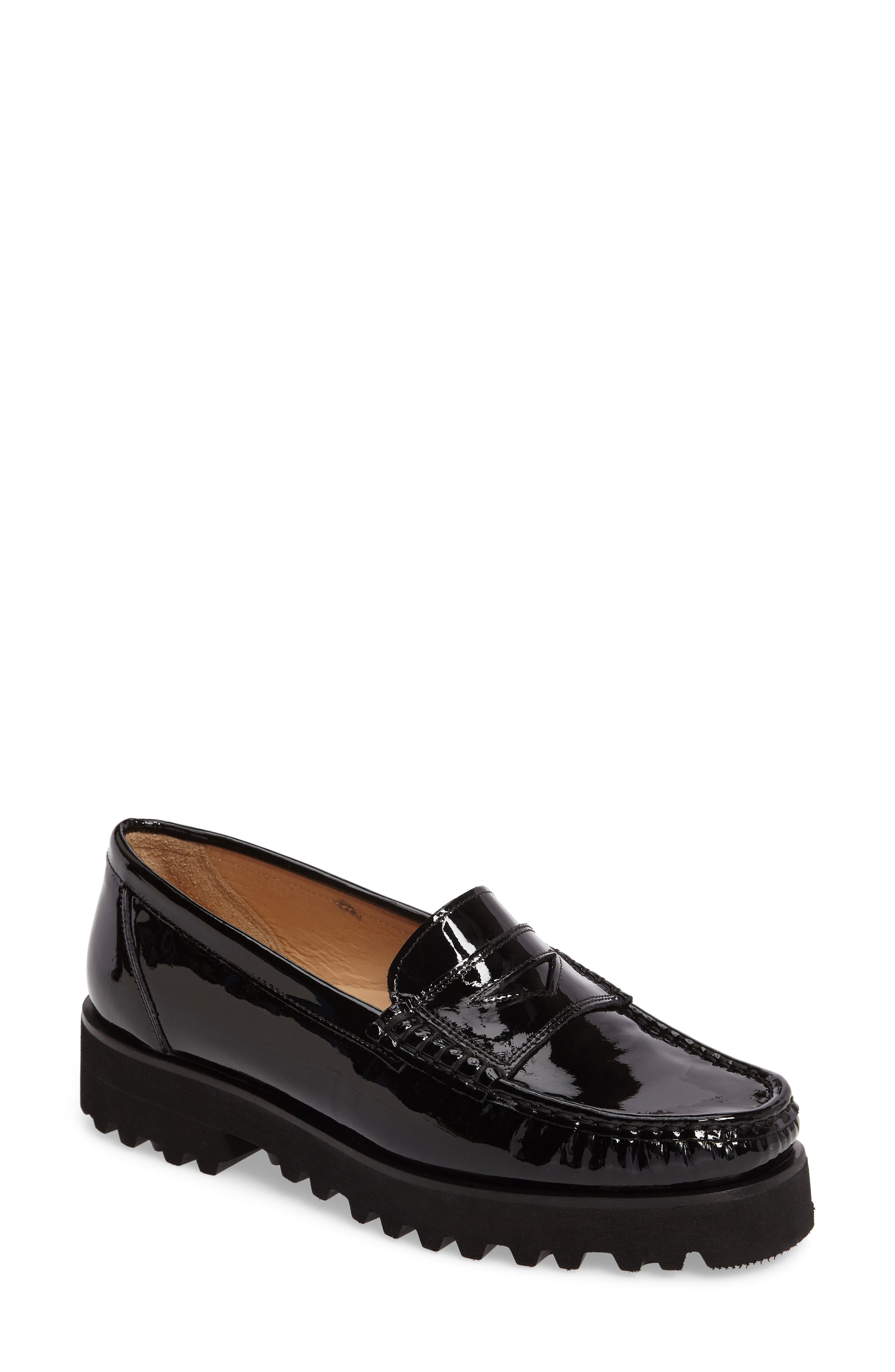 Rita Platform Penny Loafer,                             Main thumbnail 1, color,                             Onyx Patent
