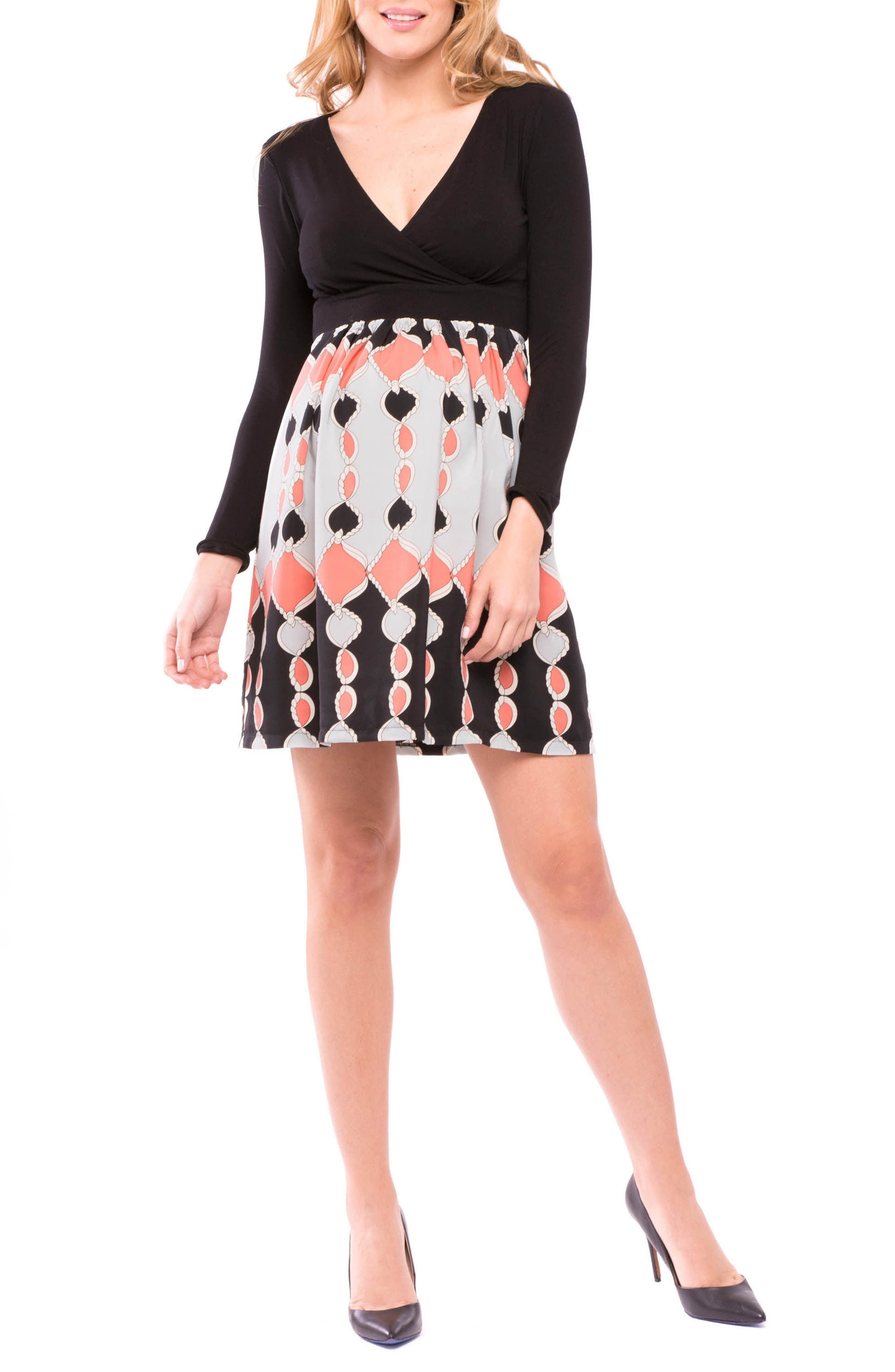 Lexi Print Maternity Dress,                         Main,                         color, Black/ Coral Gray
