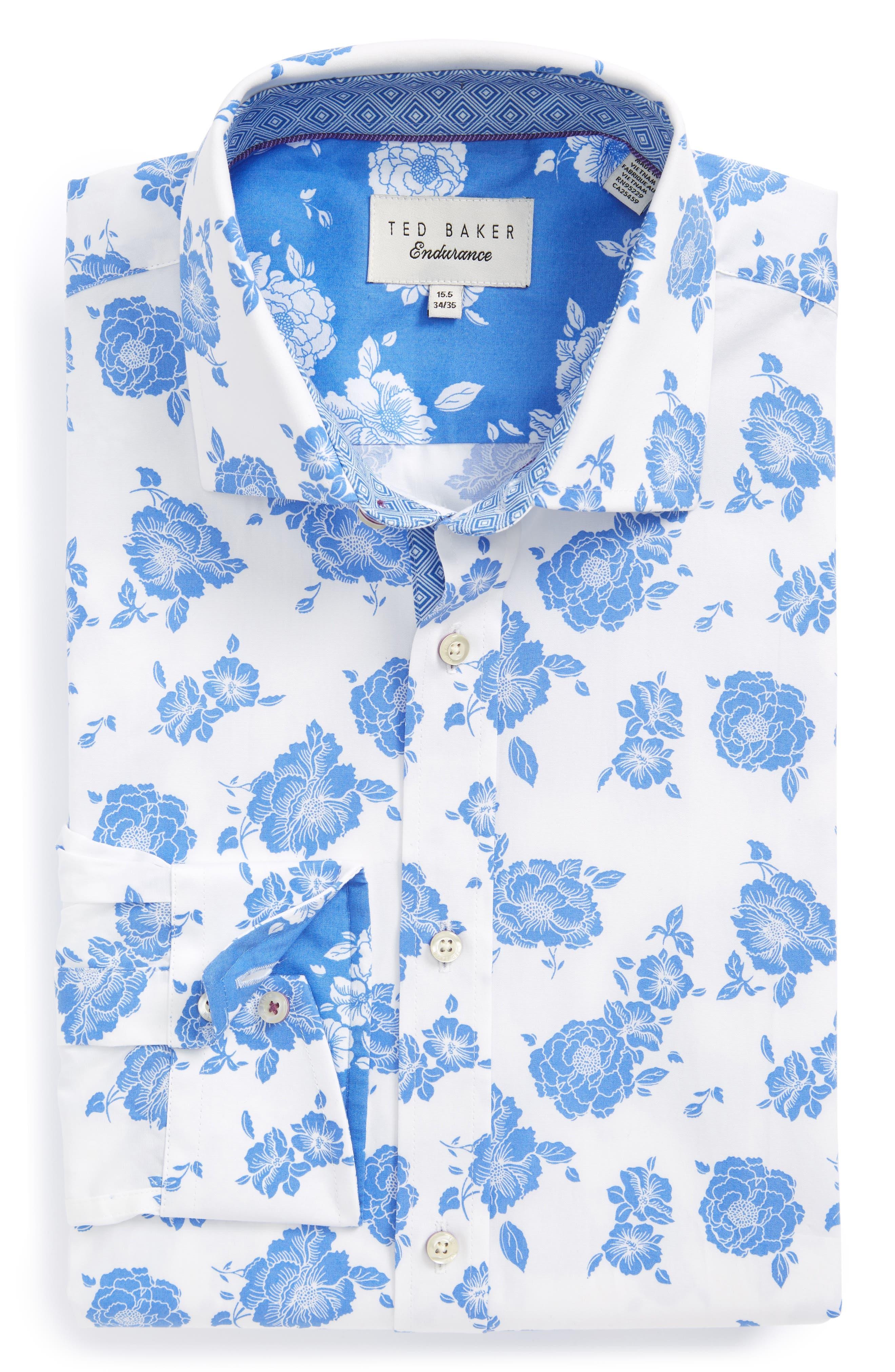 Alternate Image 1 Selected - Ted Baker London Trim Fit Floral Dress Shirt