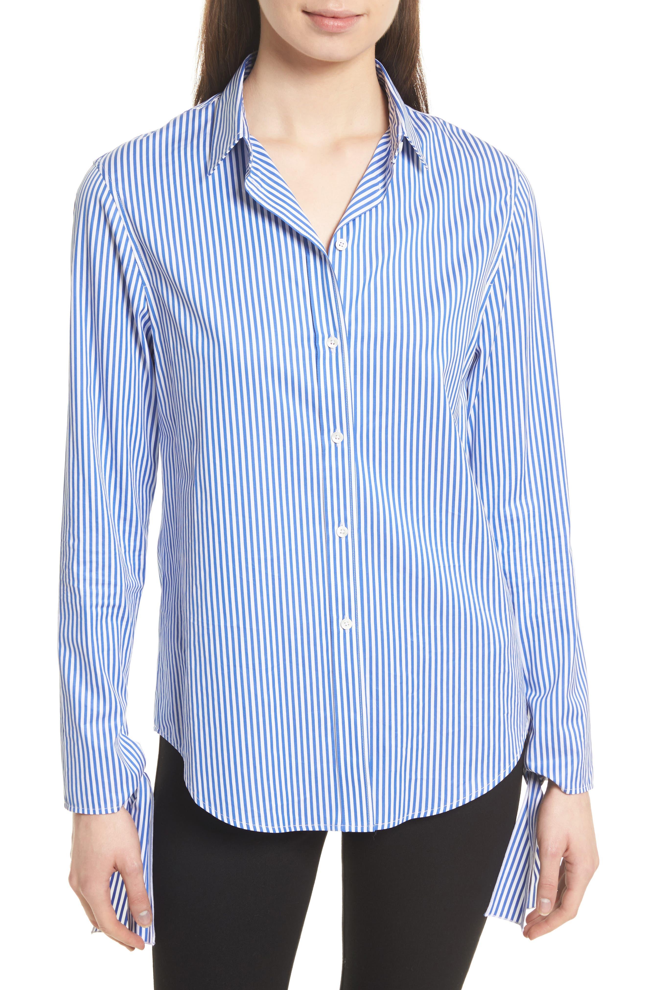 Thomas Stripe Forever Tie Cuff Shirt,                         Main,                         color, Blue/ White