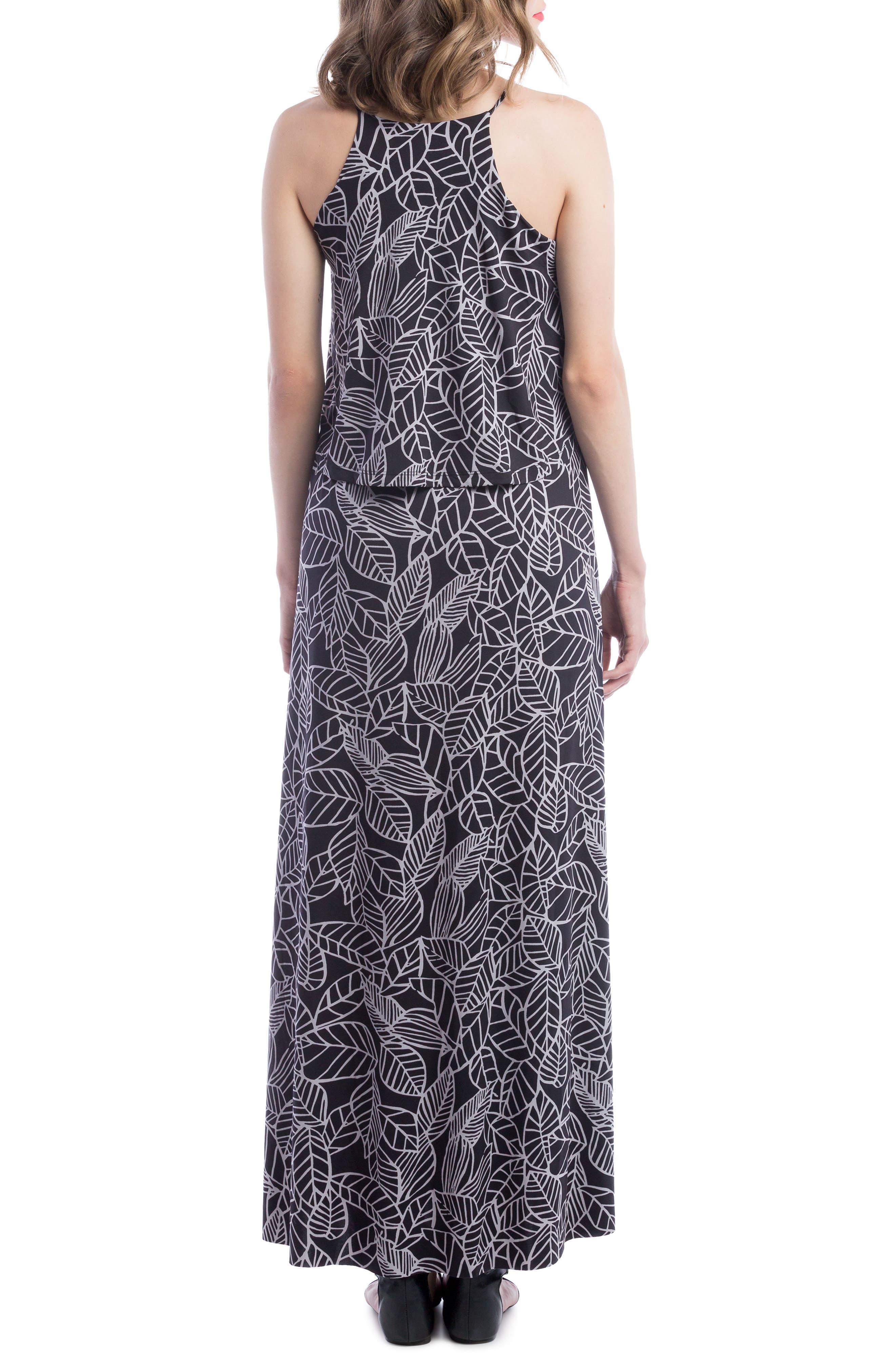 Maternity/Nursing Maxi Dress,                             Alternate thumbnail 2, color,                             Black/ Grey Leaf