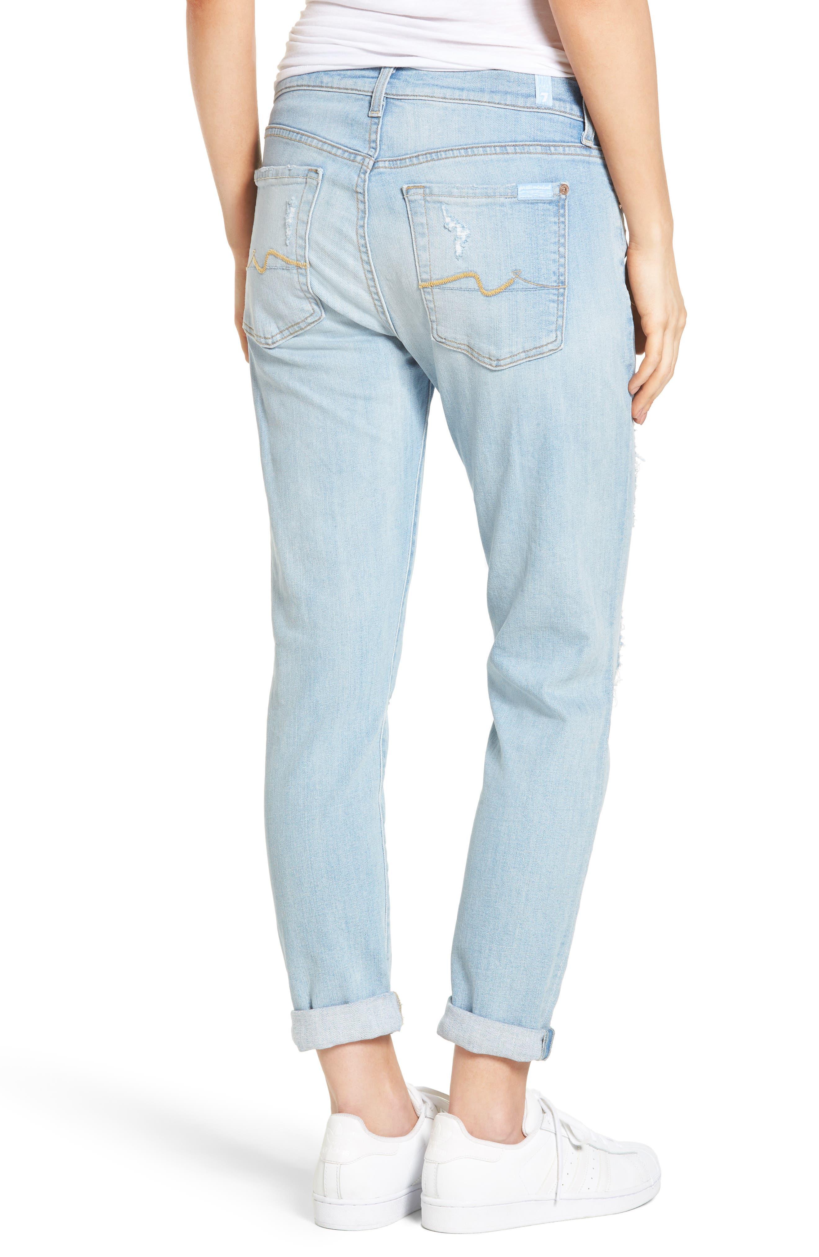Alternate Image 2  - 7 For All Mankind® 'Josefina' Boyfriend Jeans (Ocean Breeze)