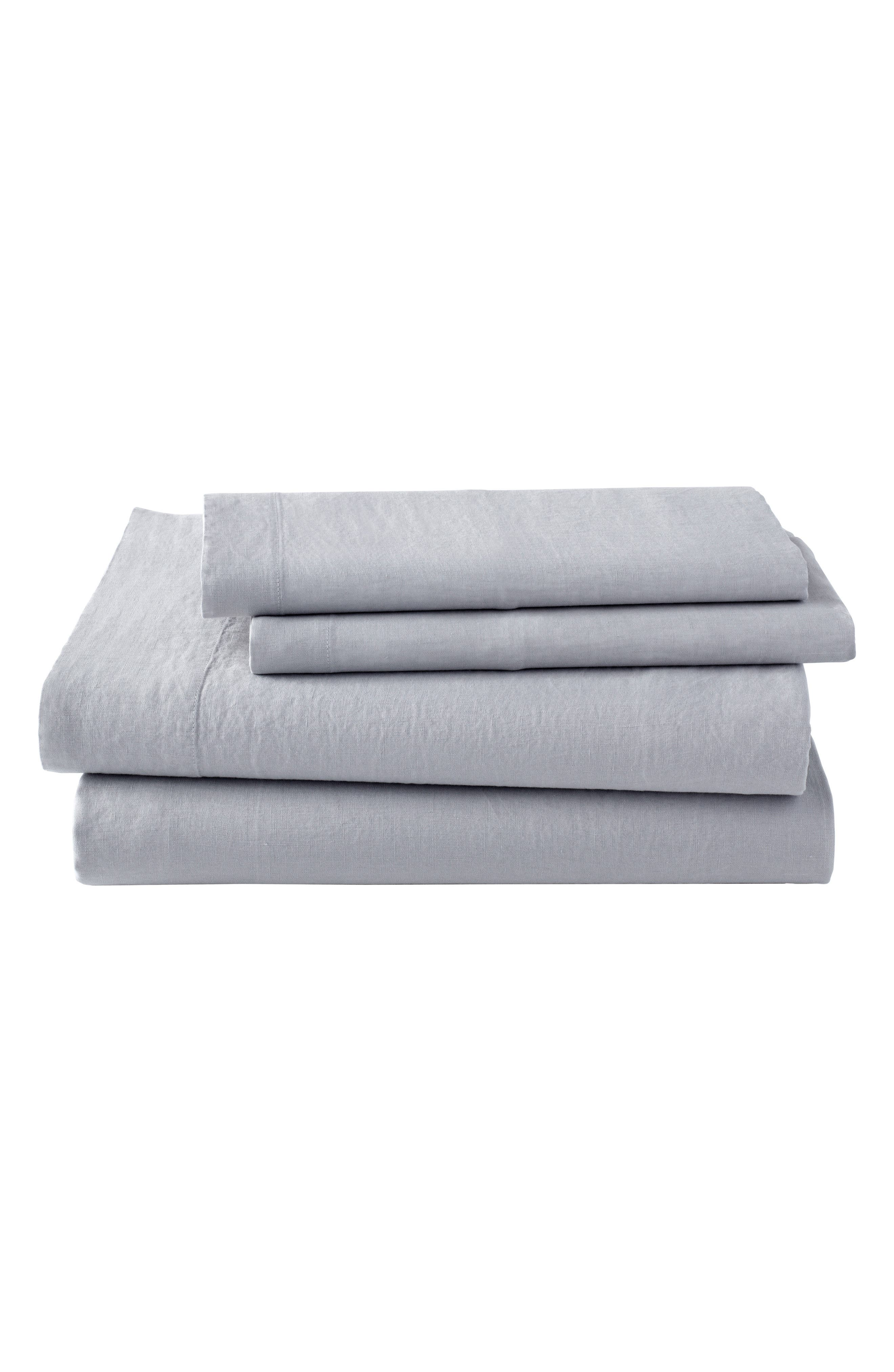 Lino Linen 300 Thread Count Fitted Sheet,                         Main,                         color, Grey