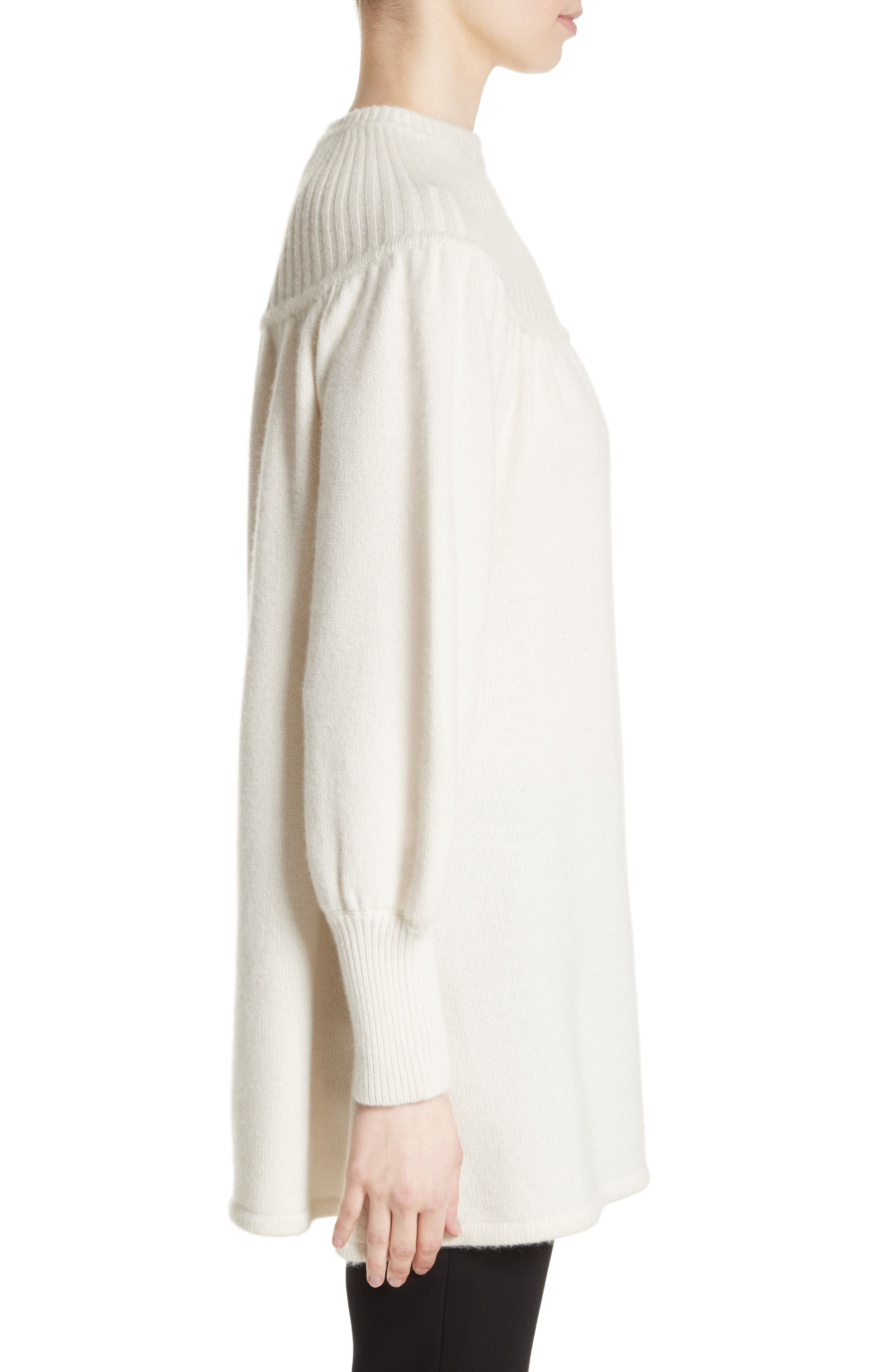 Rib Knit Cashmere Tunic Sweater,                             Alternate thumbnail 5, color,                             Ivory