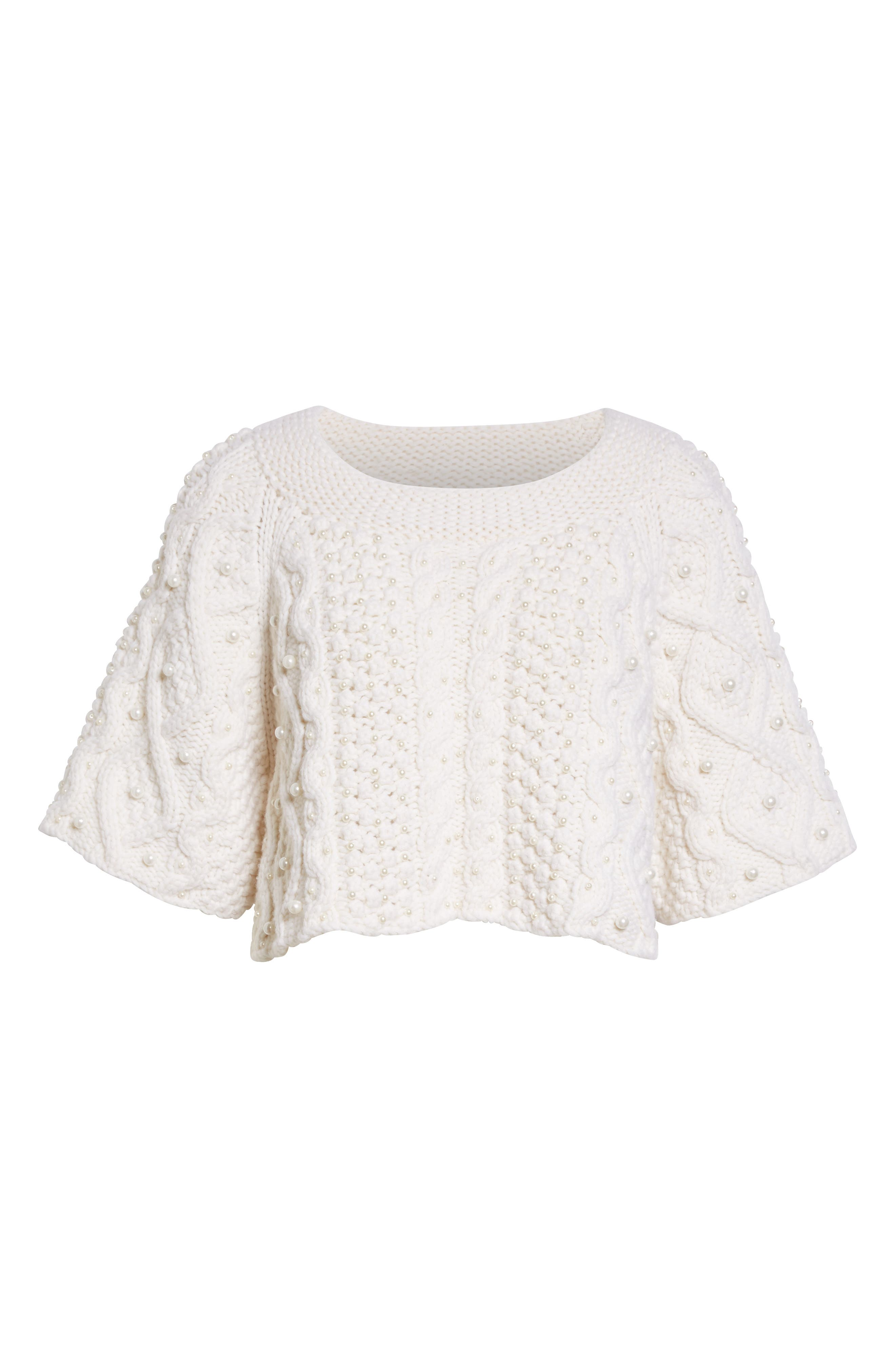 Alternate Image 4  - Co Cable Knit Wool & Cashmere Crop Sweater