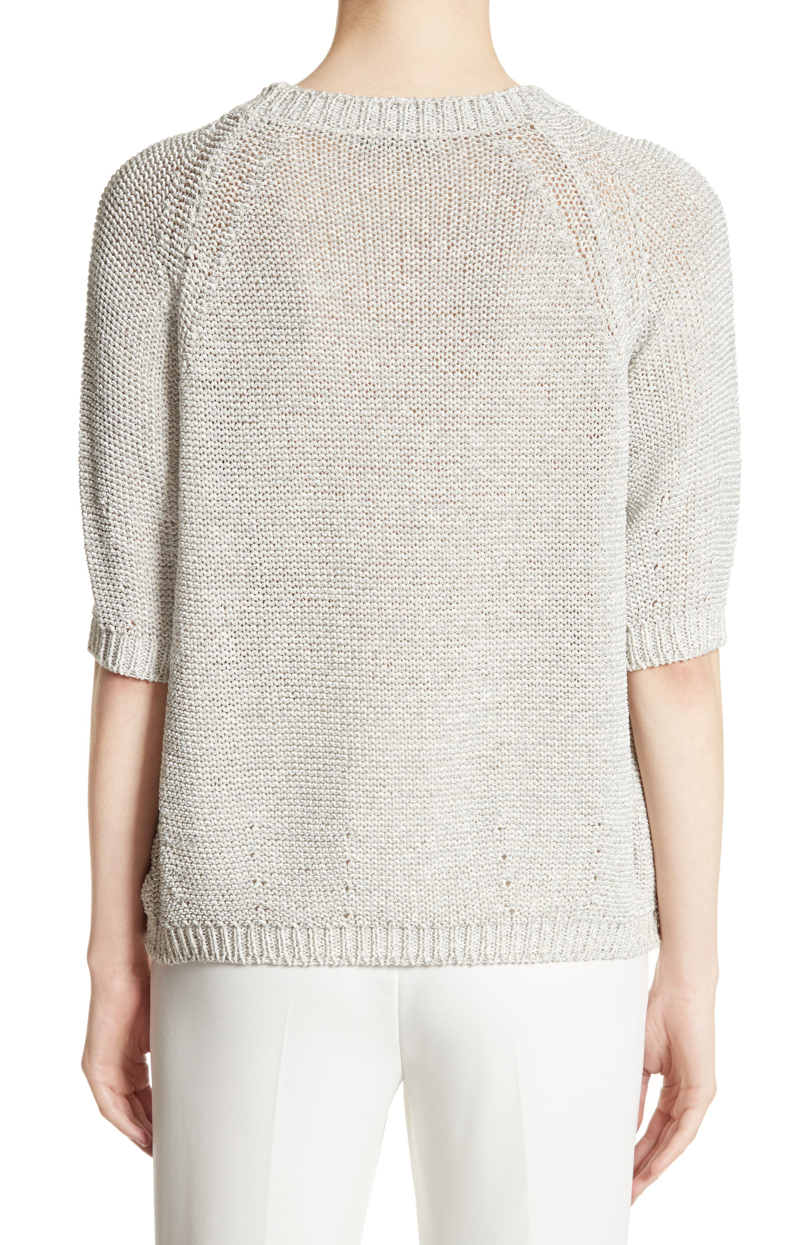 Cotton Blend Sweater,                             Alternate thumbnail 2, color,                             White
