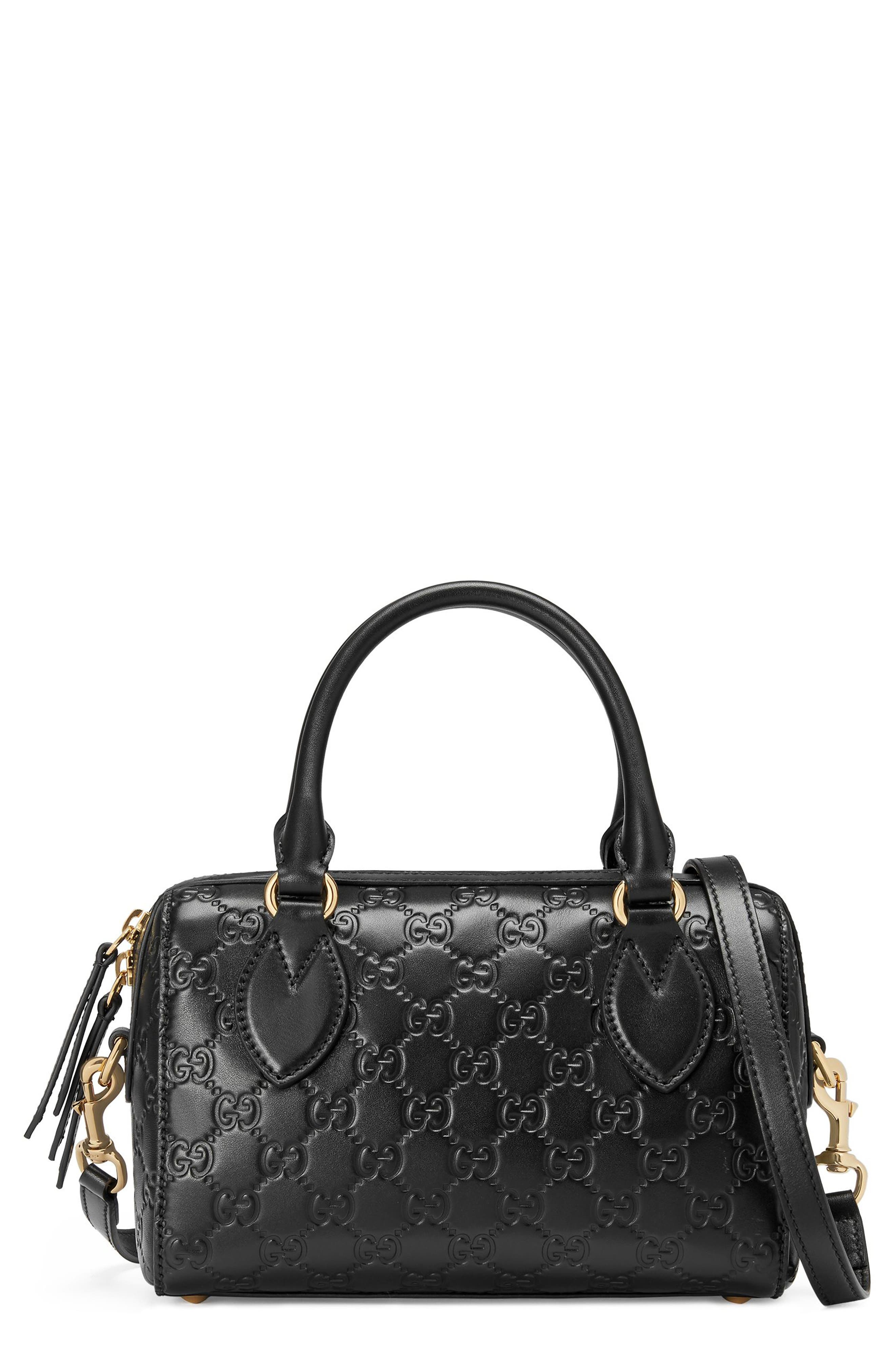 Small Top Handle Signature Leather Satchel,                         Main,                         color, Nero