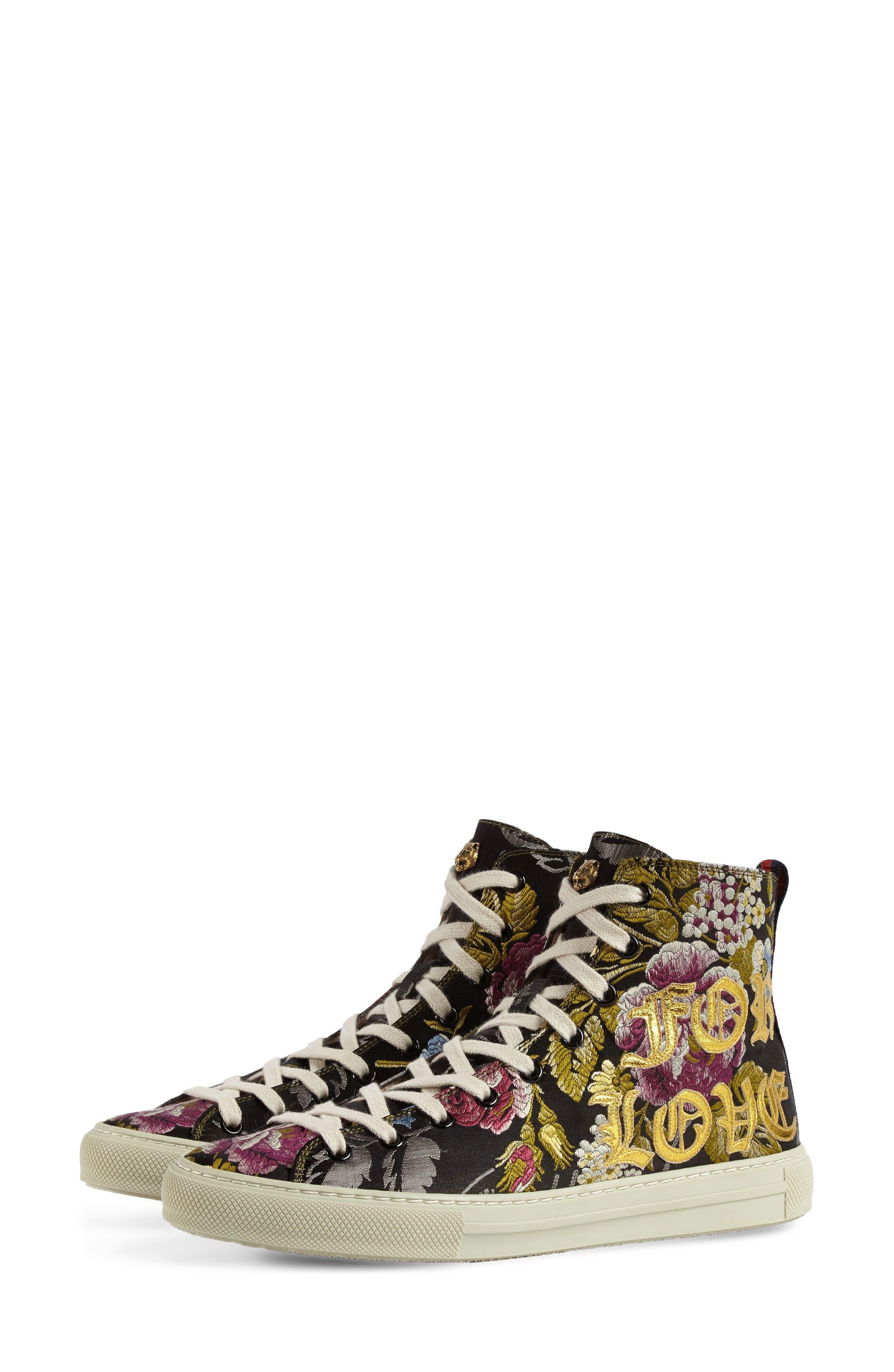 Floral High Top Sneaker,                             Alternate thumbnail 4, color,                             Black Floral