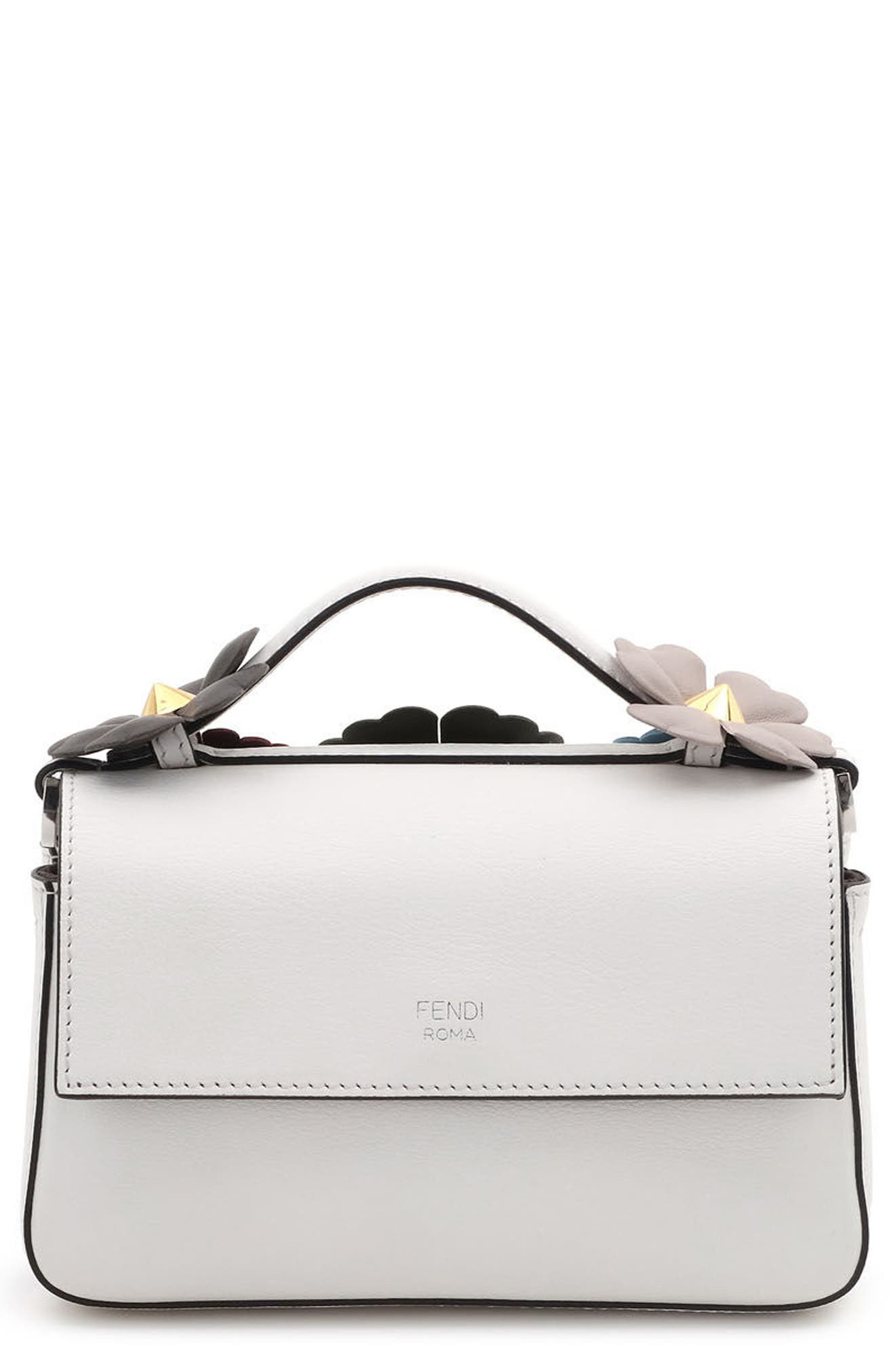 Fendi Flowerland Double Micro Baguette Leather Satchel