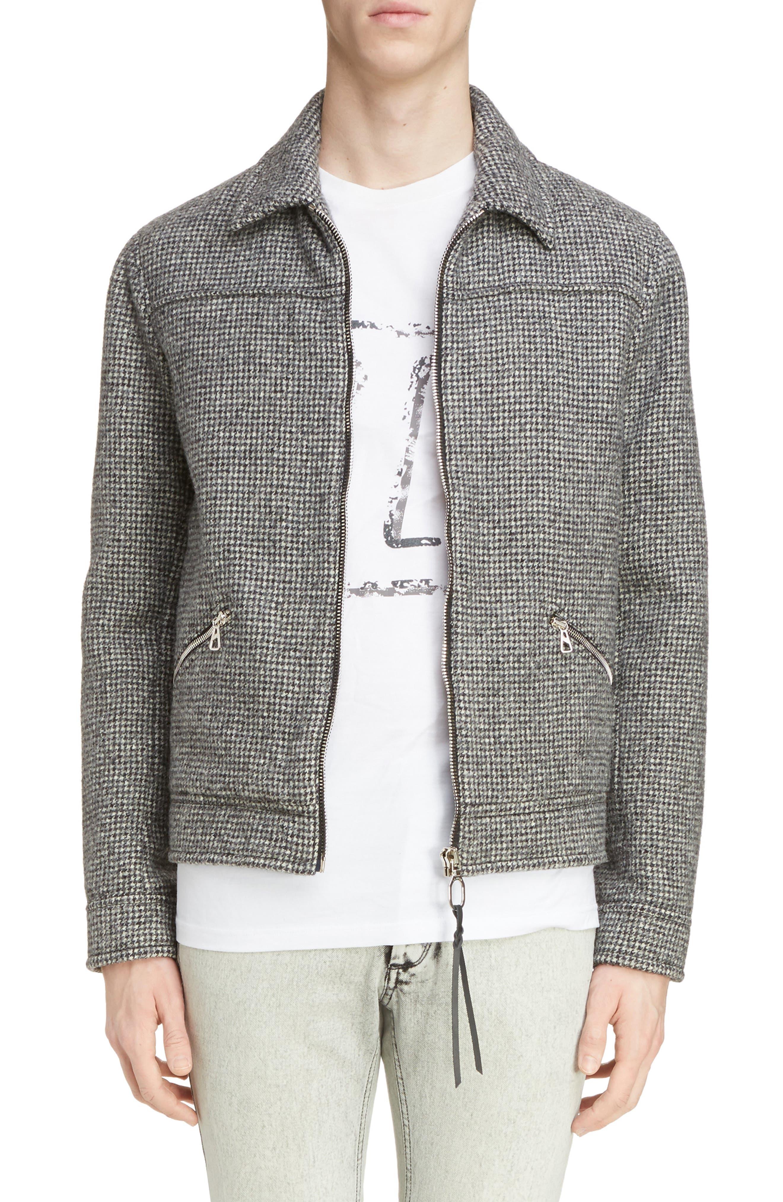 Houndstooth Wool Zip Front Jacket,                         Main,                         color, Dark Grey