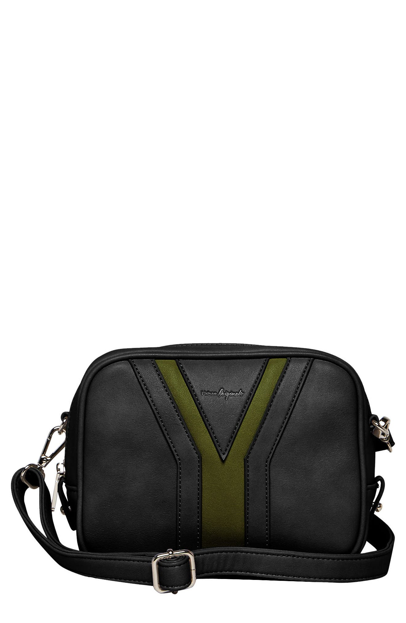 Late Night Vegan Leather Crossbody Bag,                             Main thumbnail 1, color,                             Black/ Green