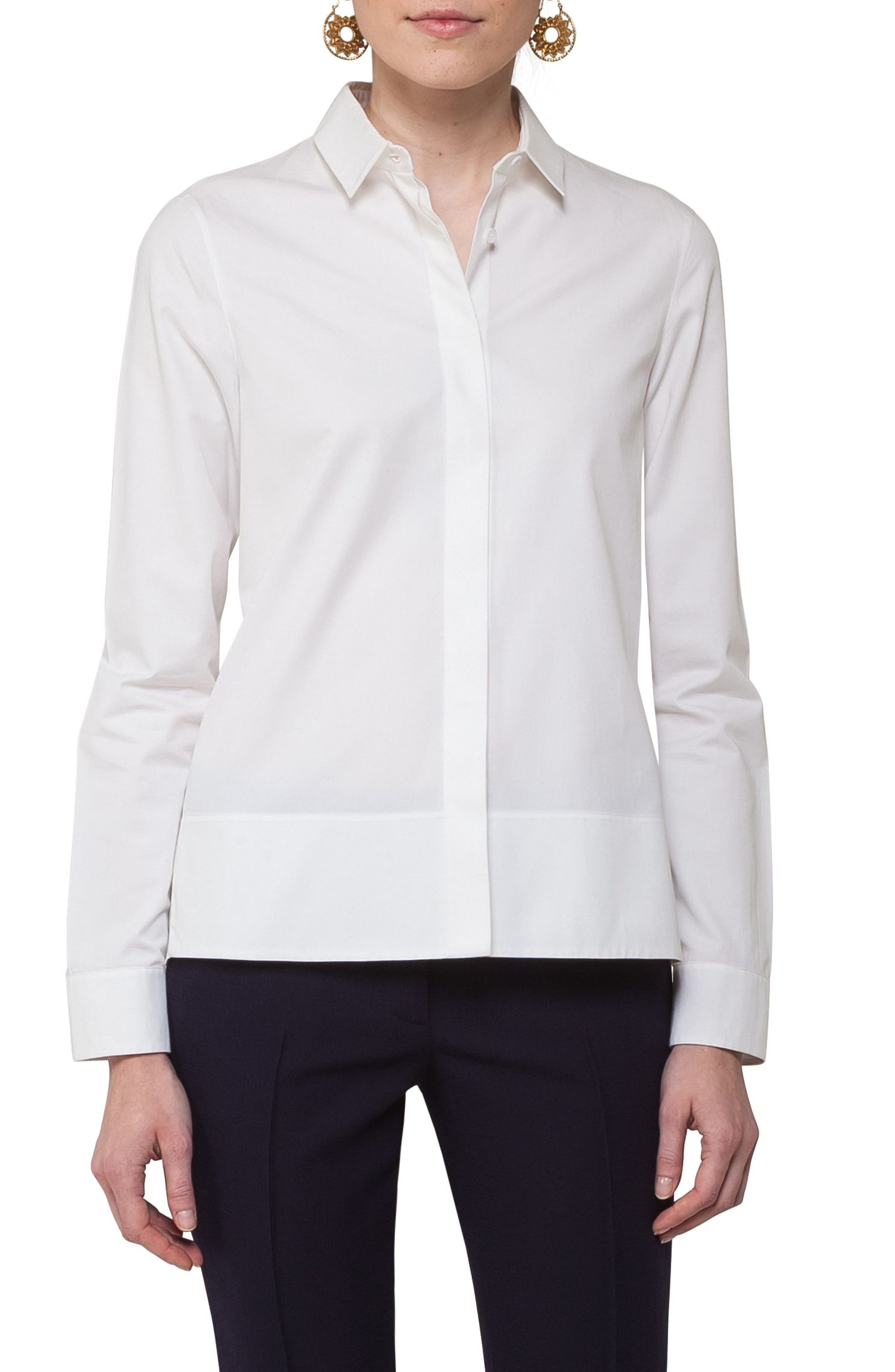 Akris punto Handkerchief Hem Cotton Blouse
