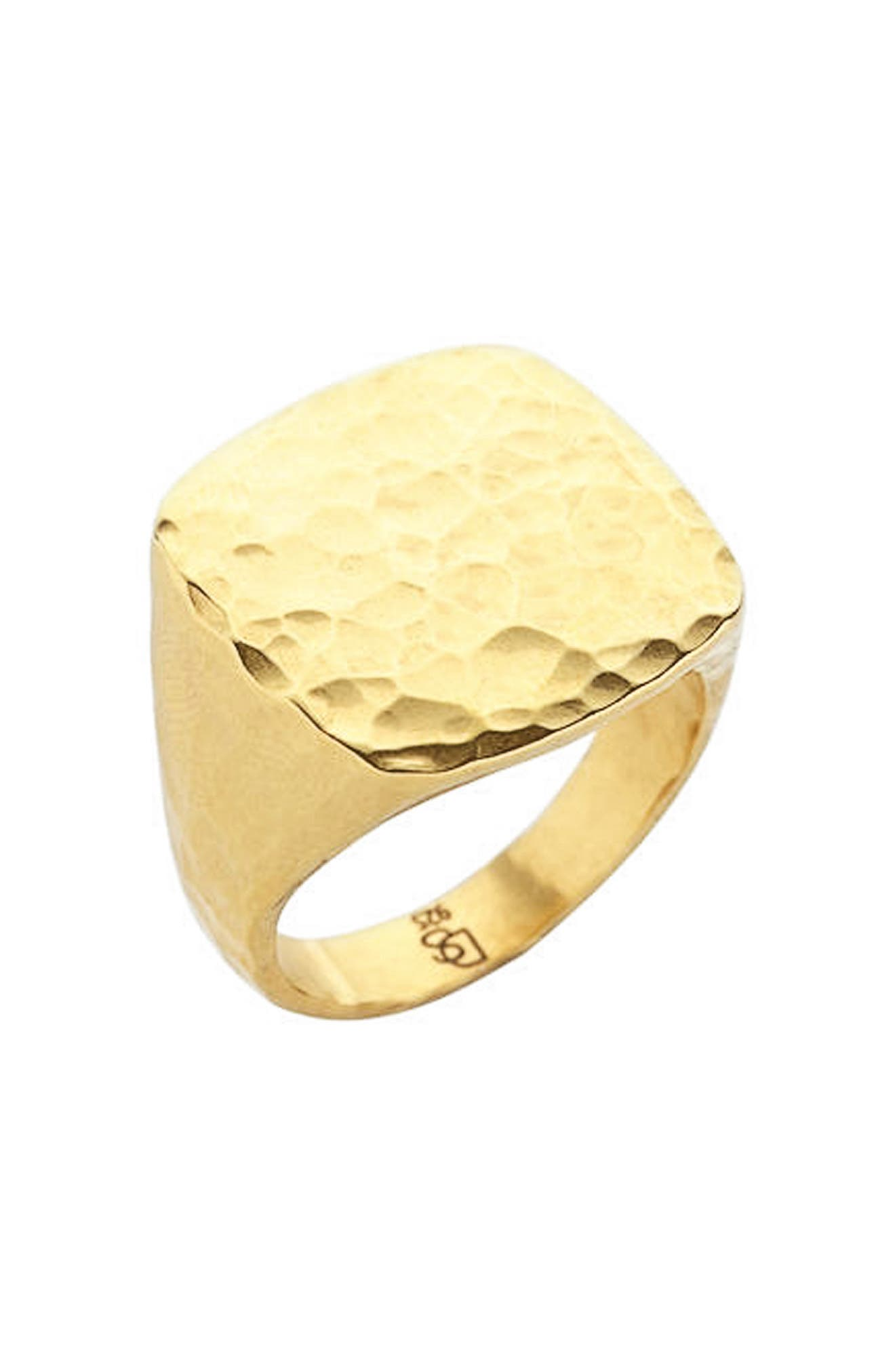 Square Hammered Ring,                         Main,                         color, Gold