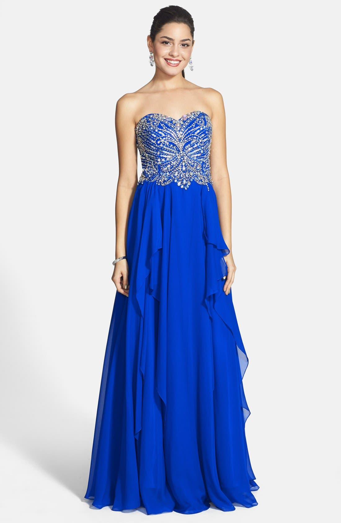Alternate Image 1 Selected - Alyce Paris Embellished Layered Chiffon Strapless Gown