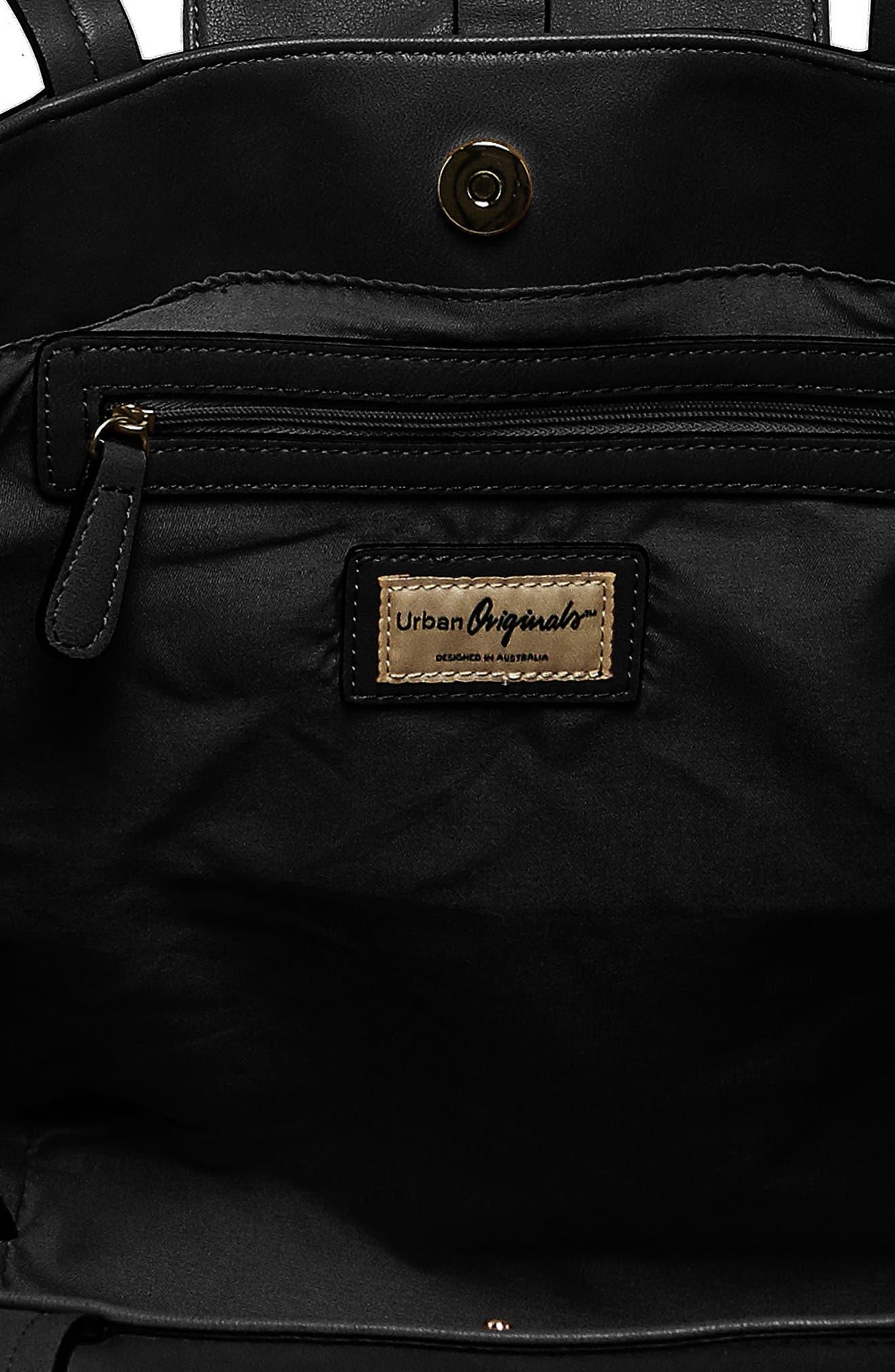 Urban Orginals Desire Vegan Leather Bucket Bag,                             Alternate thumbnail 3, color,                             Black