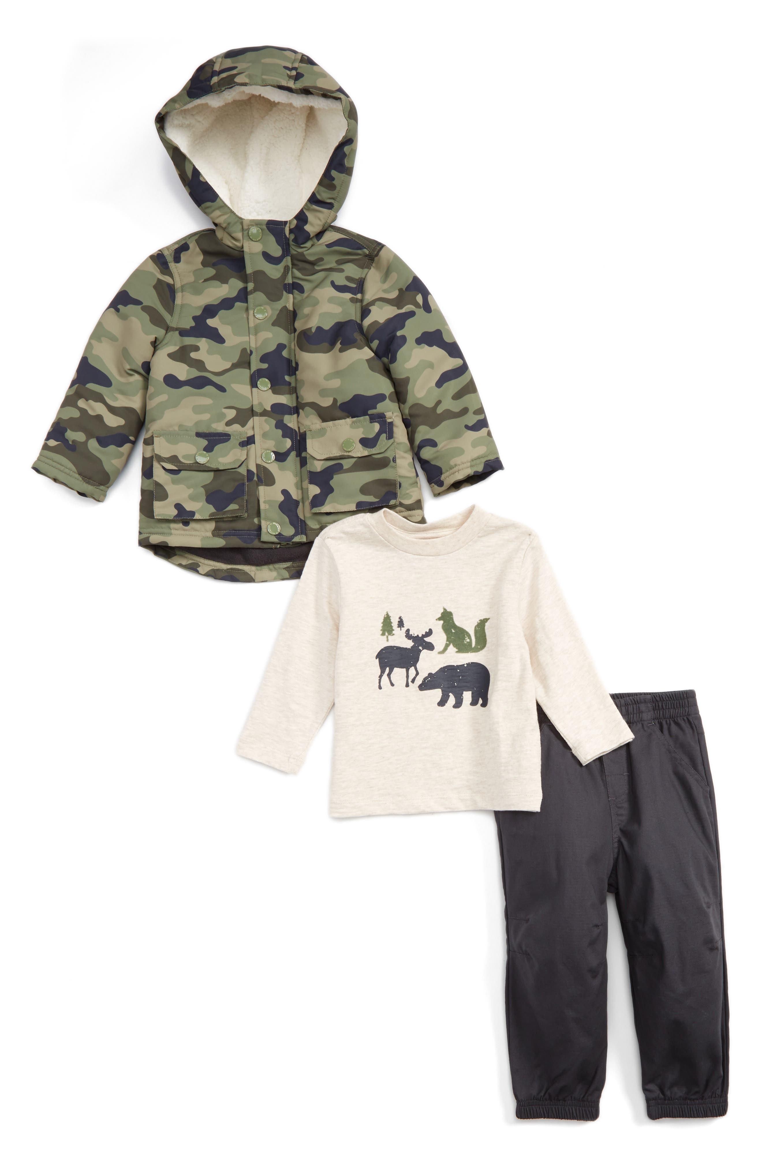 Main Image - Little Me Camo Hooded Jacket, T-Shirt & Pants Set (Baby Boys)