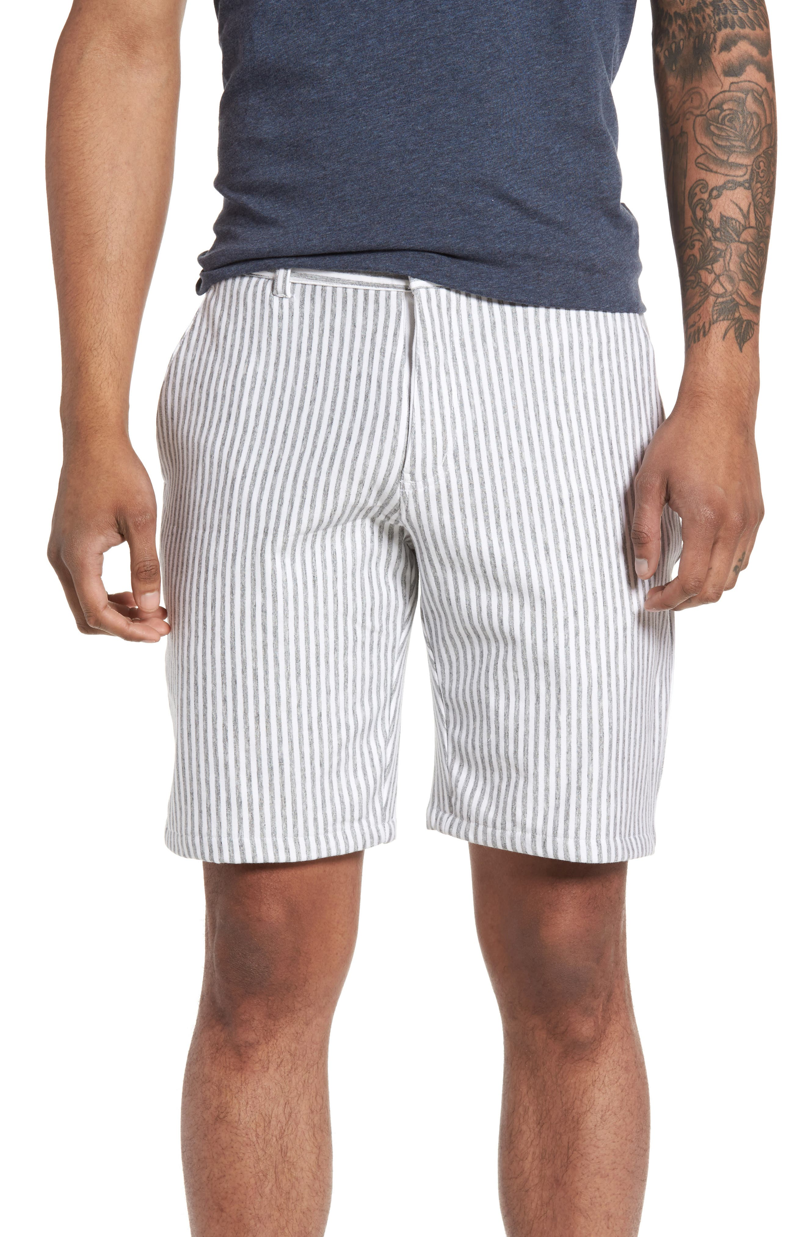 Stripe French Terry Shorts,                             Main thumbnail 1, color,                             Grey/ White Stripe