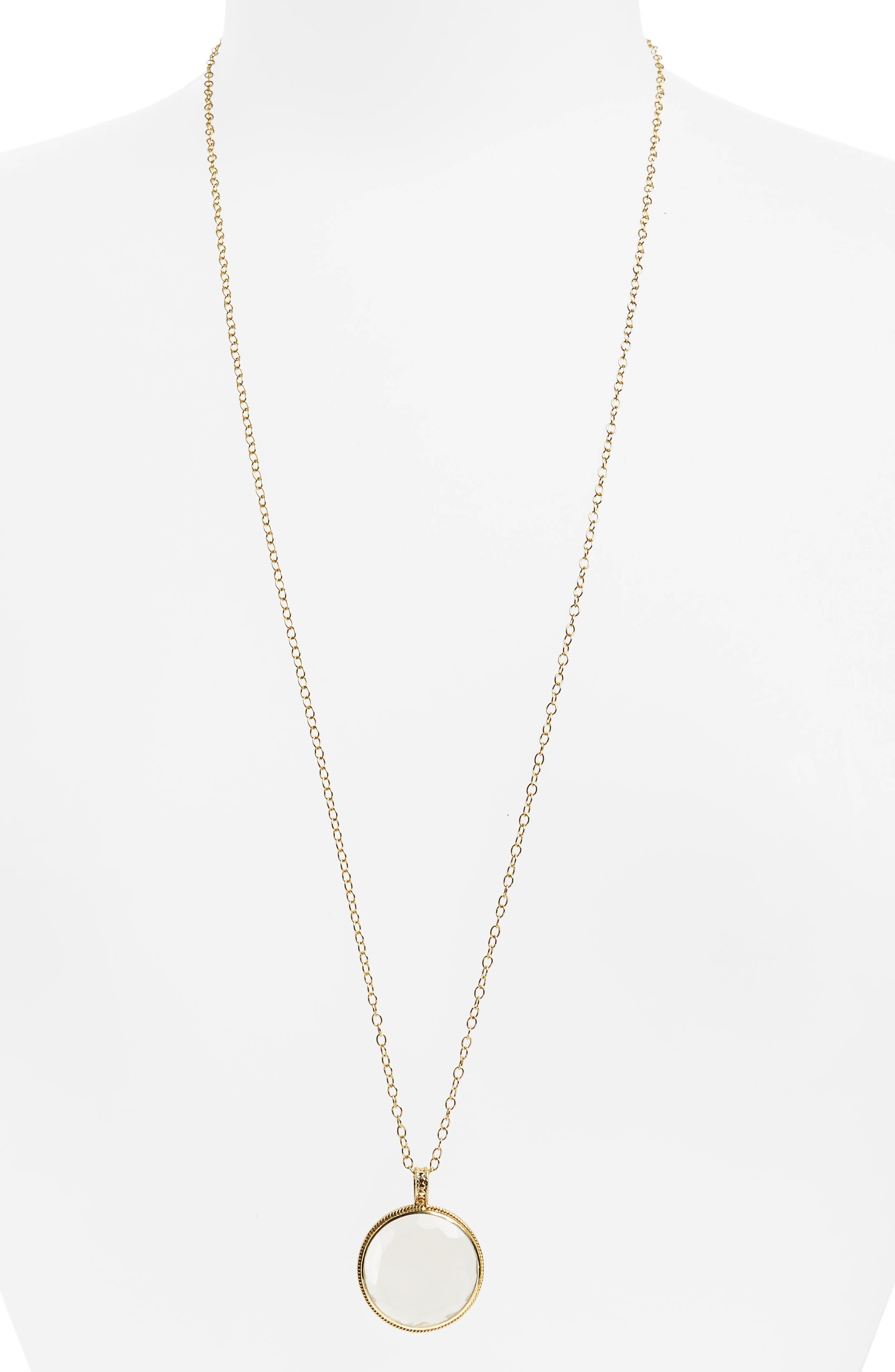 Crystal Quartz Long Pendant Necklace,                         Main,                         color, Gold/ Silver