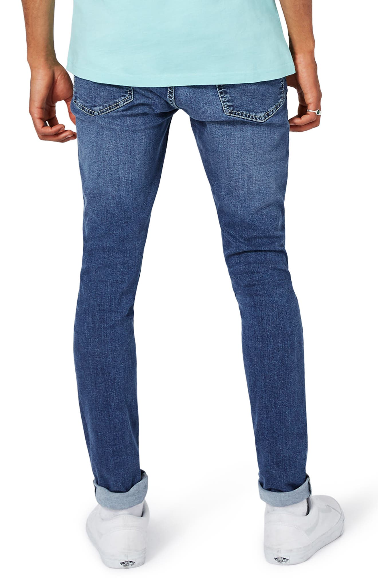 Spray-On Skinny Fit Jeans,                             Alternate thumbnail 3, color,                             Blue