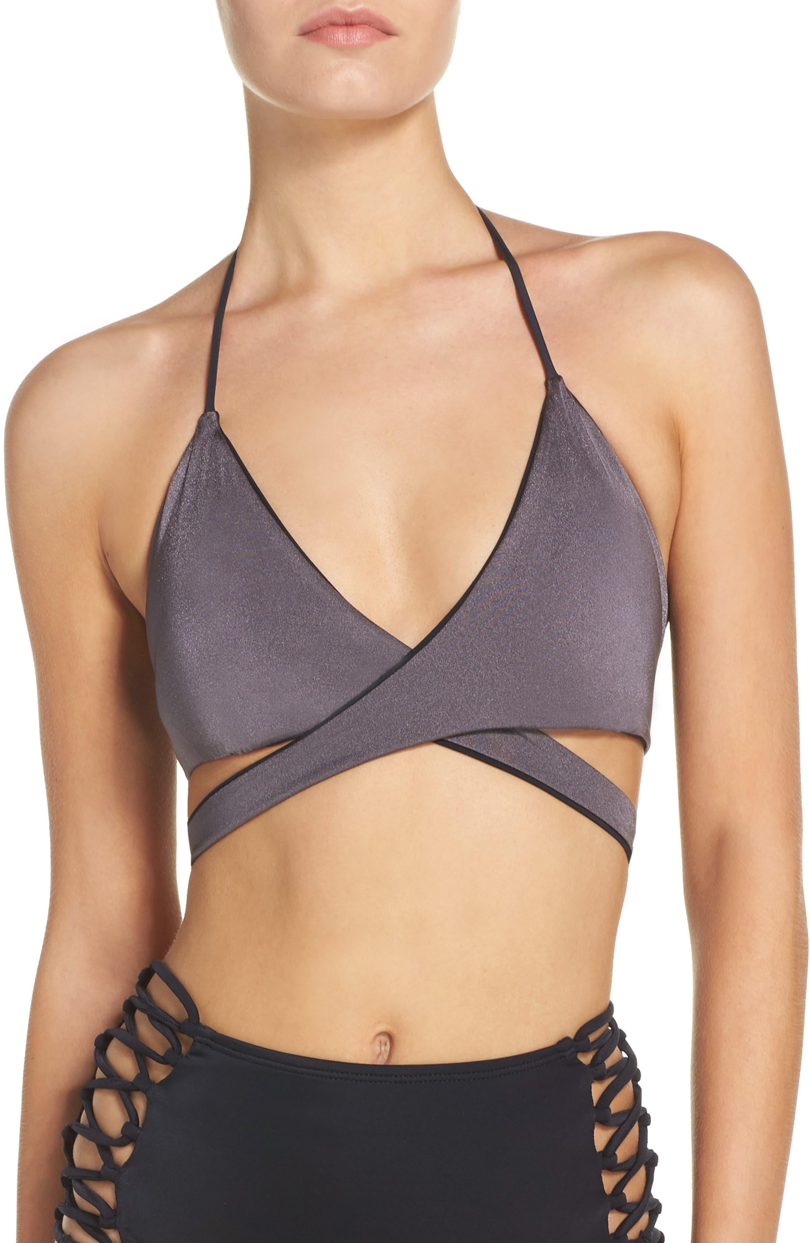 Reversible Wrap Bikini Top,                             Main thumbnail 1, color,                             Black