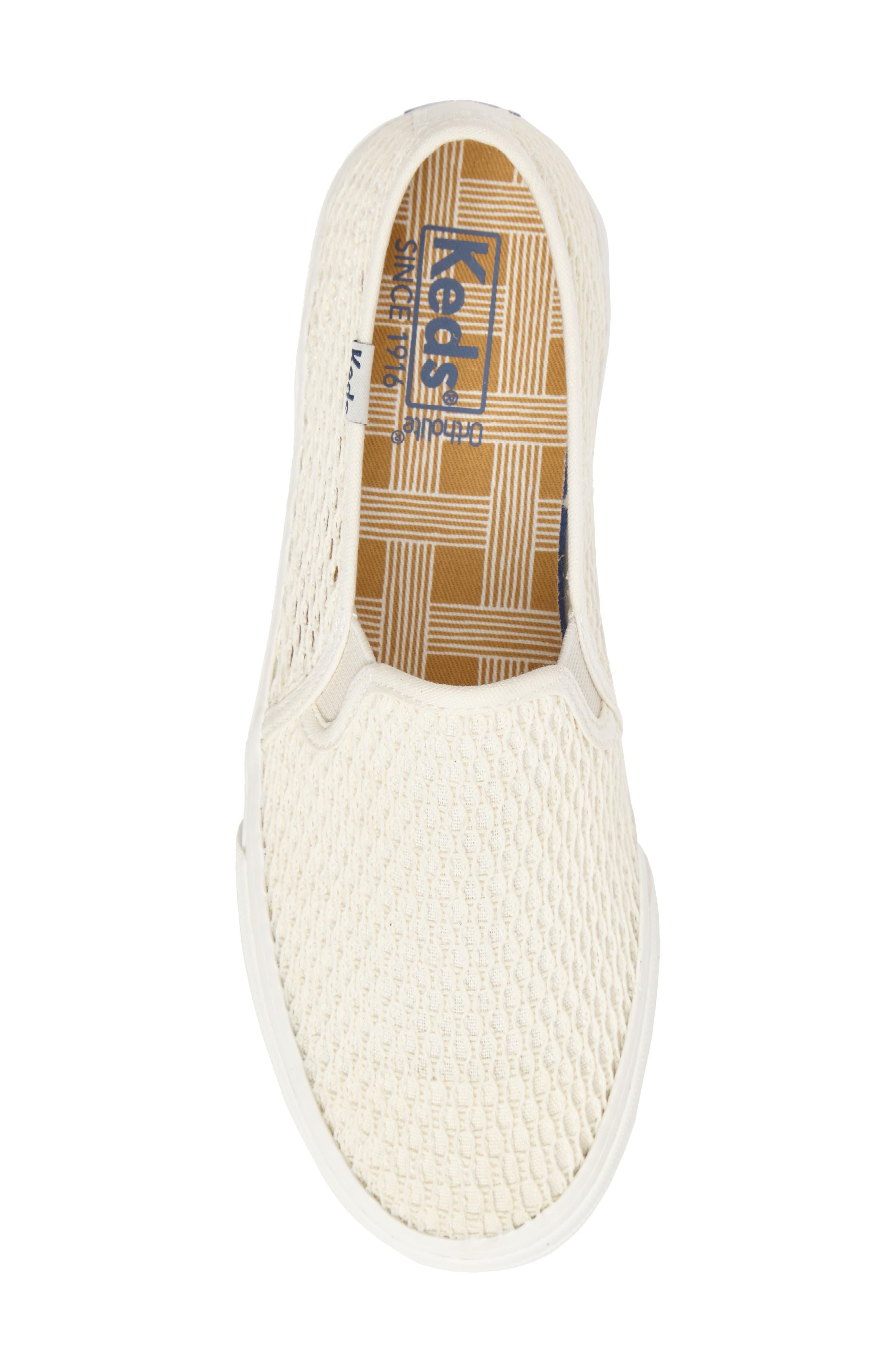 Double Decker Crochet Slip-On Sneaker,                             Alternate thumbnail 5, color,                             Cream