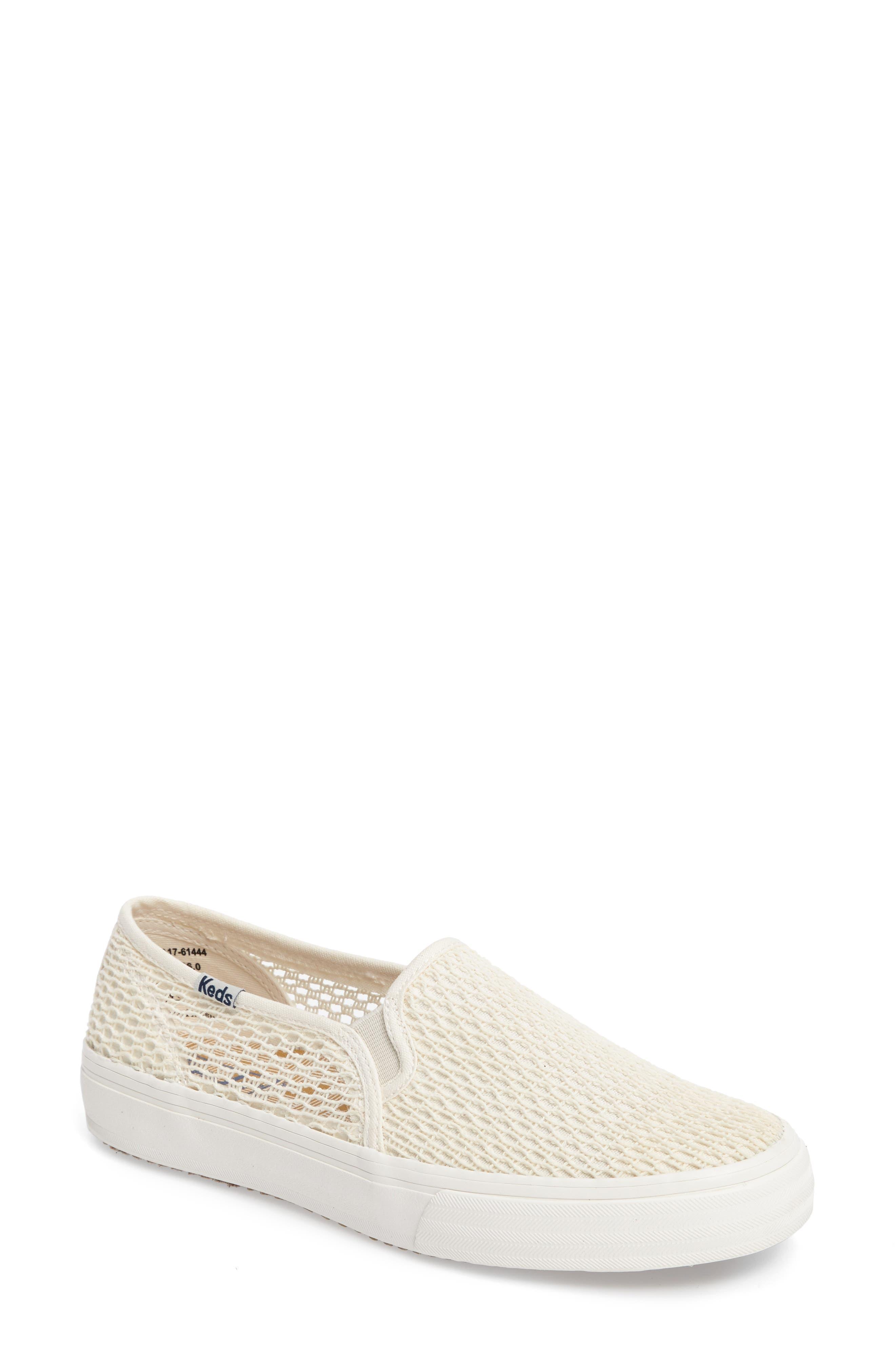 Double Decker Crochet Slip-On Sneaker,                             Main thumbnail 1, color,                             Cream