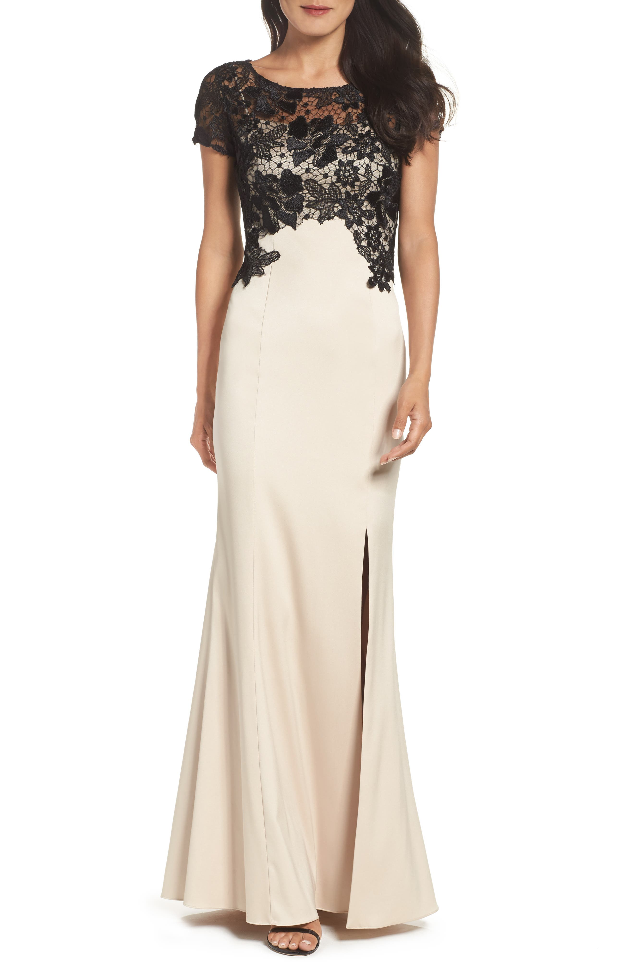Lace Mermaid Gown,                         Main,                         color, Champagne Black