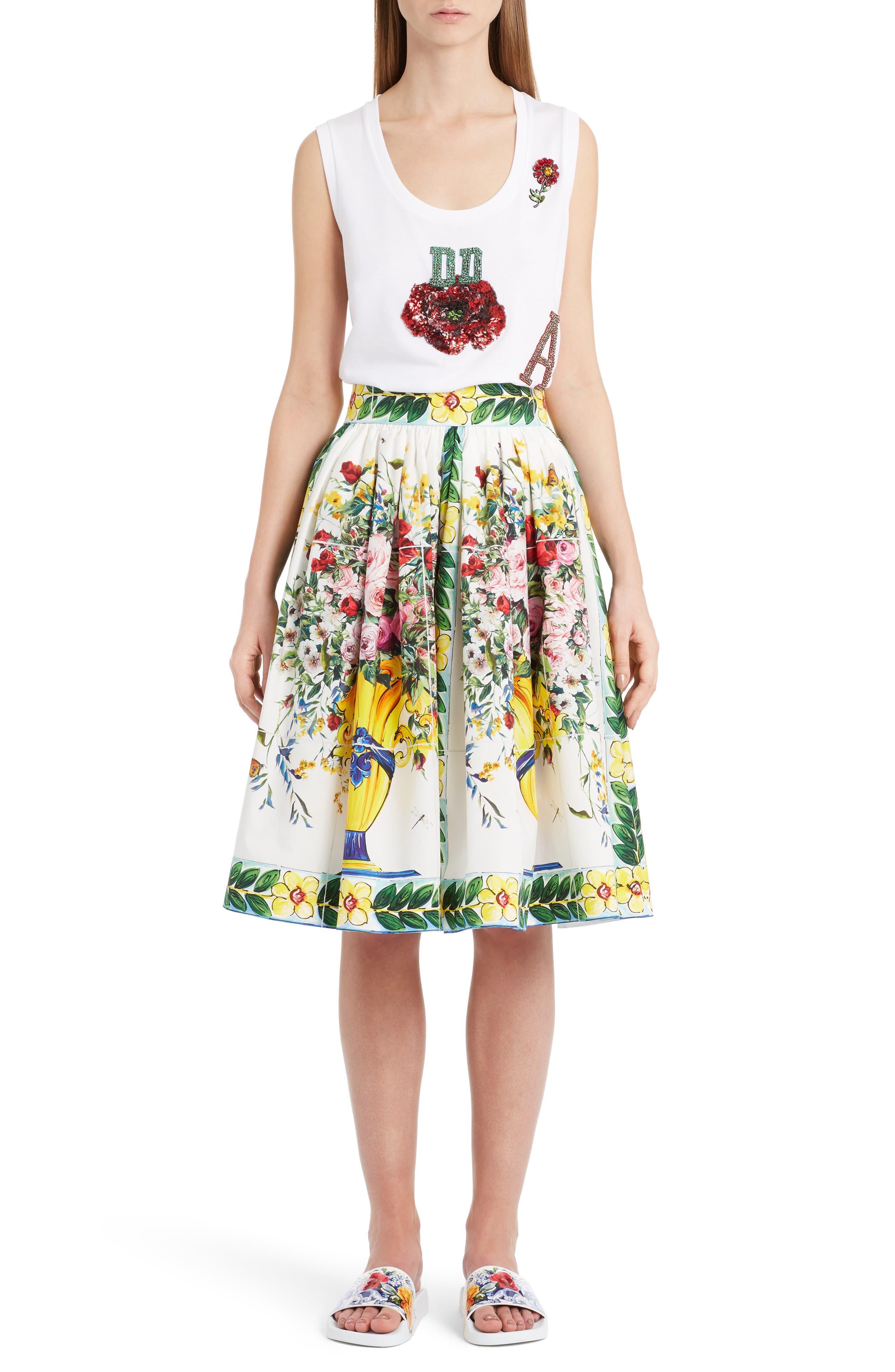 Pleated Cotton Poplin Skirt,                             Alternate thumbnail 6, color,                             Maioliche Prnt