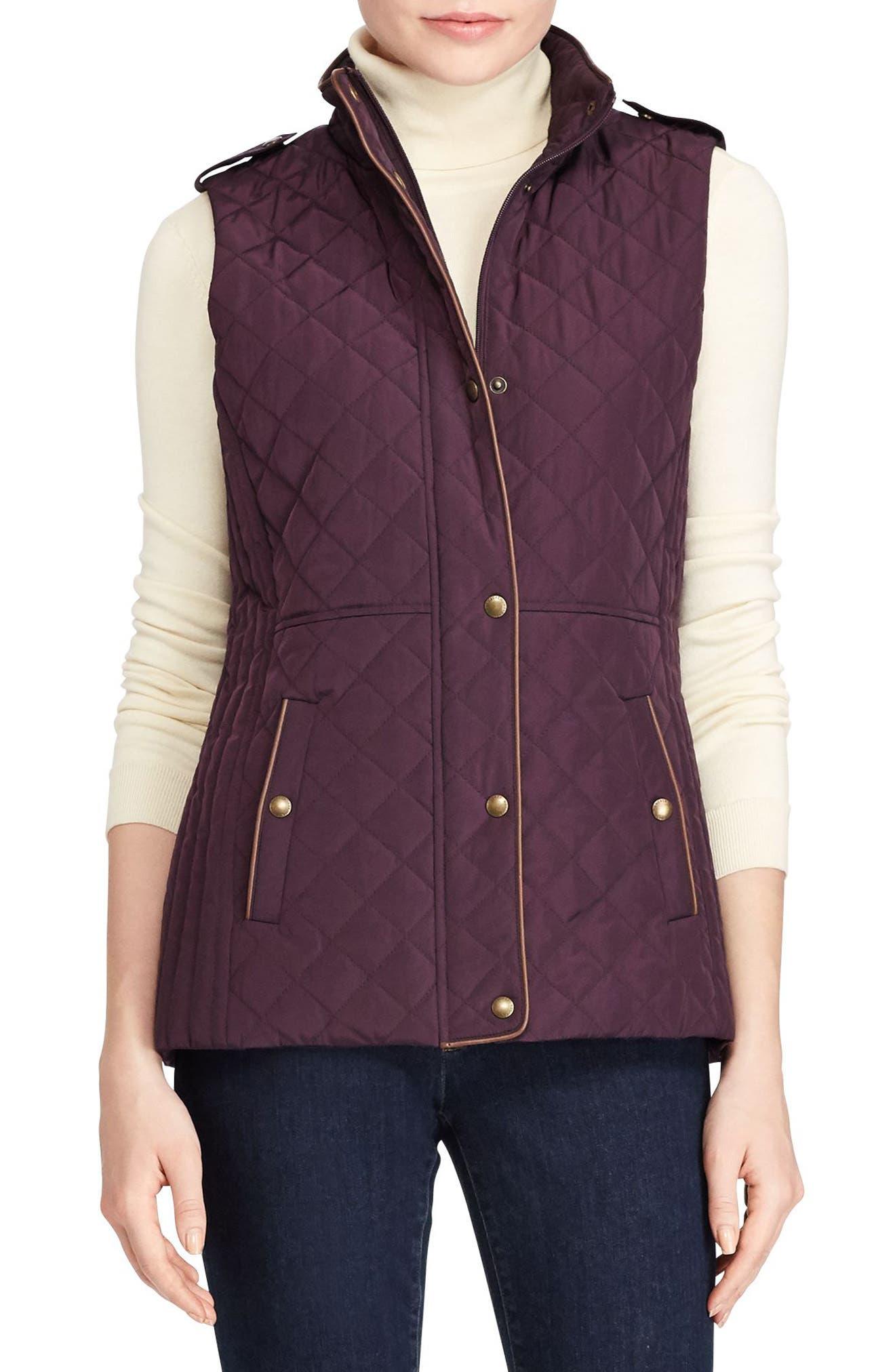Lauren Ralph Lauren Faux Leather Trim Quilted Vest (Regular & Petite)