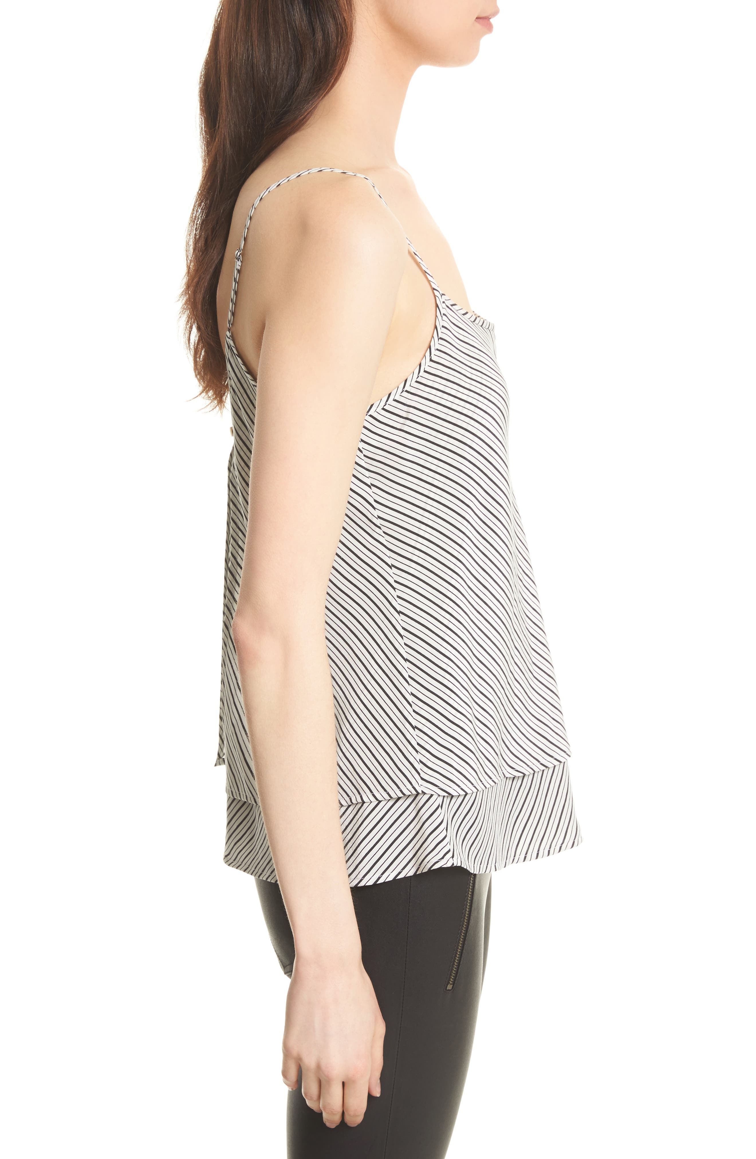 Islaya Silk Tank,                             Alternate thumbnail 3, color,                             Porcelain/ Caviar