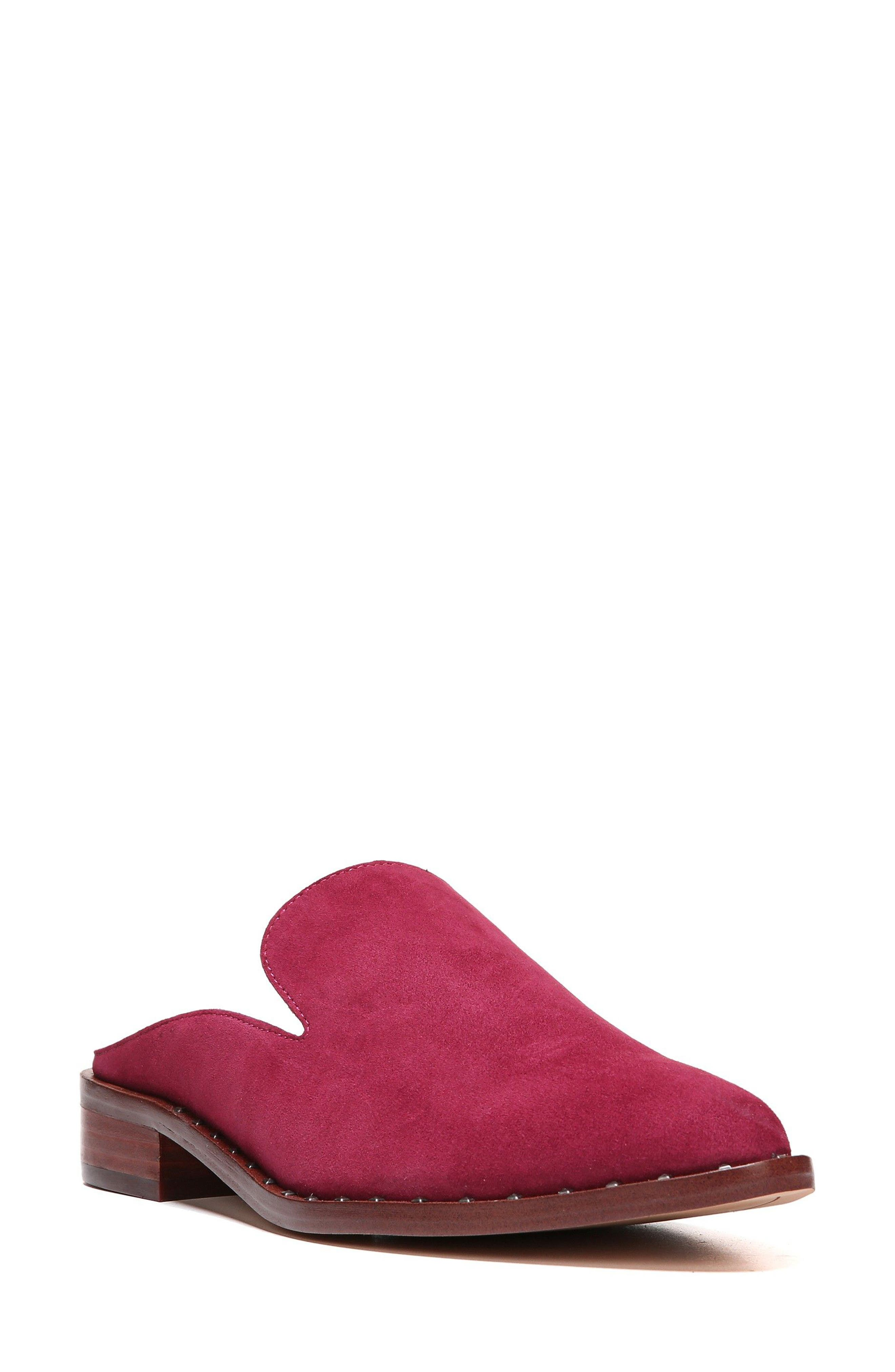 Lewellyn Mule,                         Main,                         color, Cranberry Suede