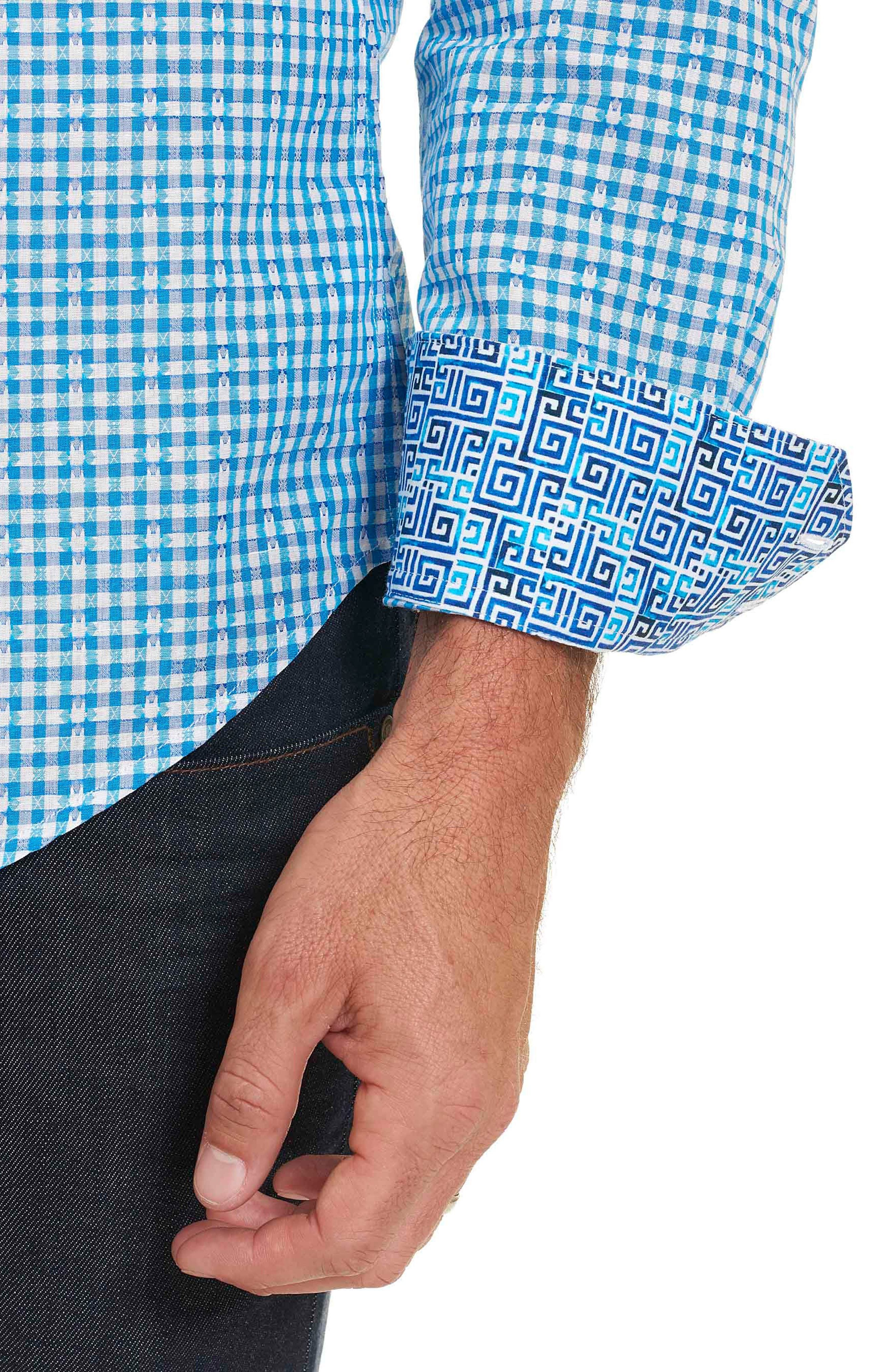 Alternate Image 3  - Robert Graham La Monica Classic Fit Gingham Linen & Cotton Sport Shirt