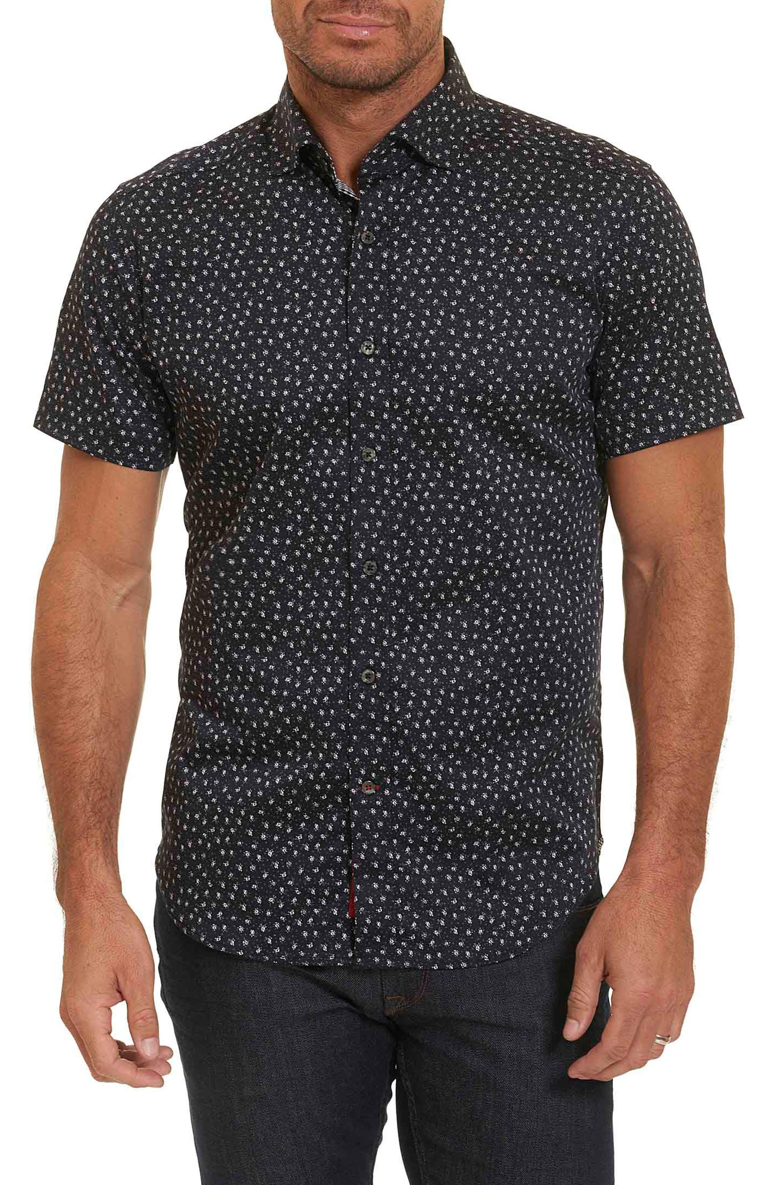Miki Tailored Fit Print Short Sleeve Sport Shirt,                         Main,                         color, Black