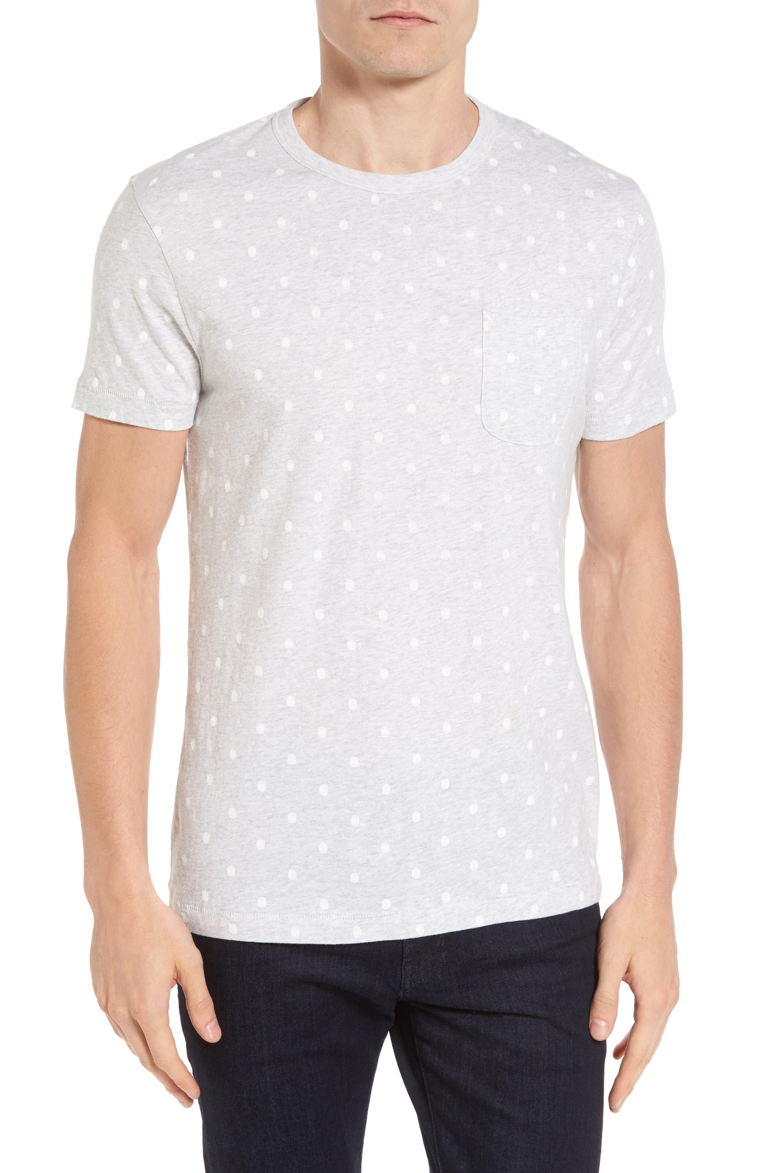 Polka Dot T-Shirt,                         Main,                         color, Silver Melange/ Whte