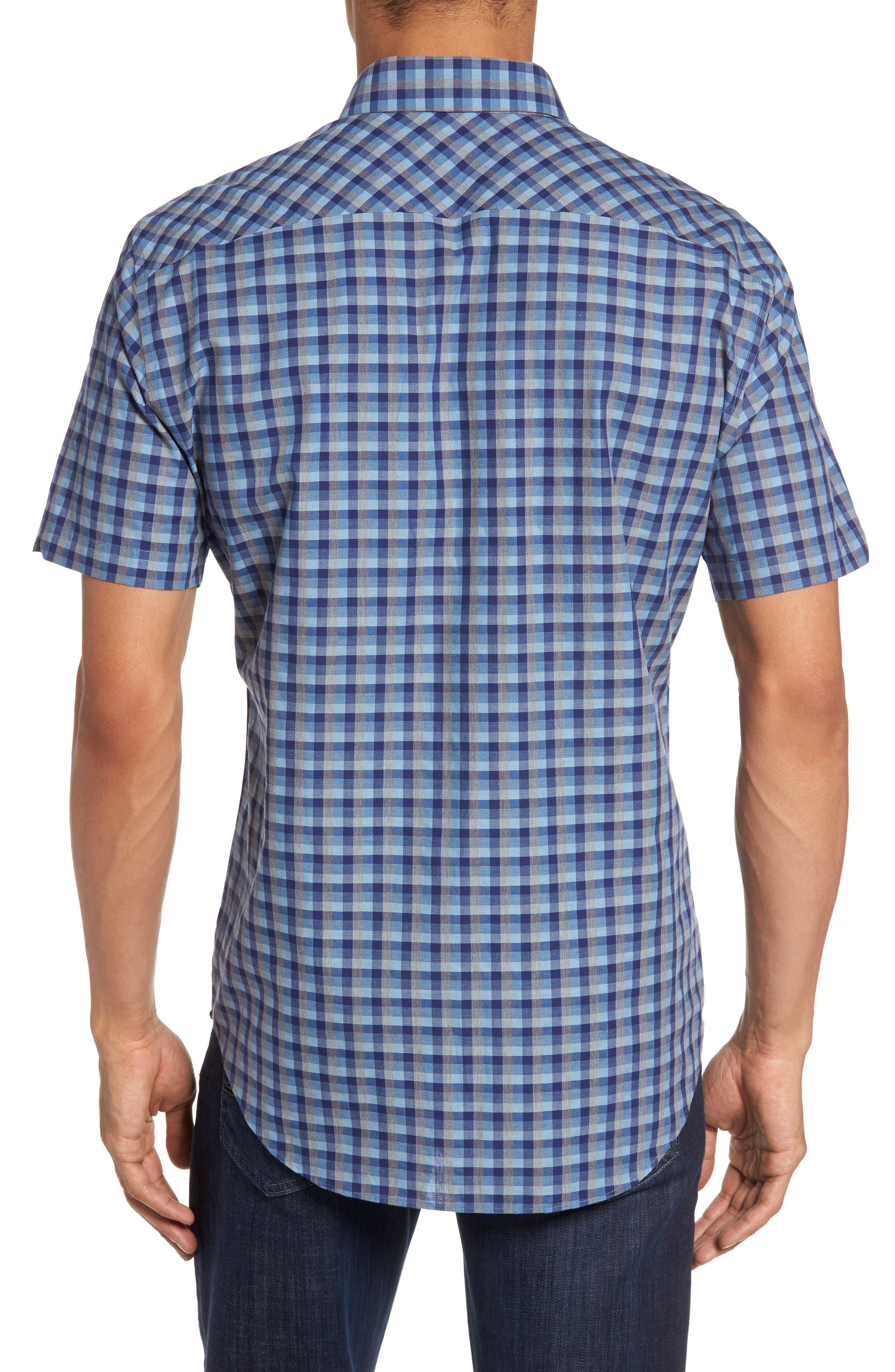 Check Short Sleeve Sport Shirt,                             Alternate thumbnail 3, color,                             Blue