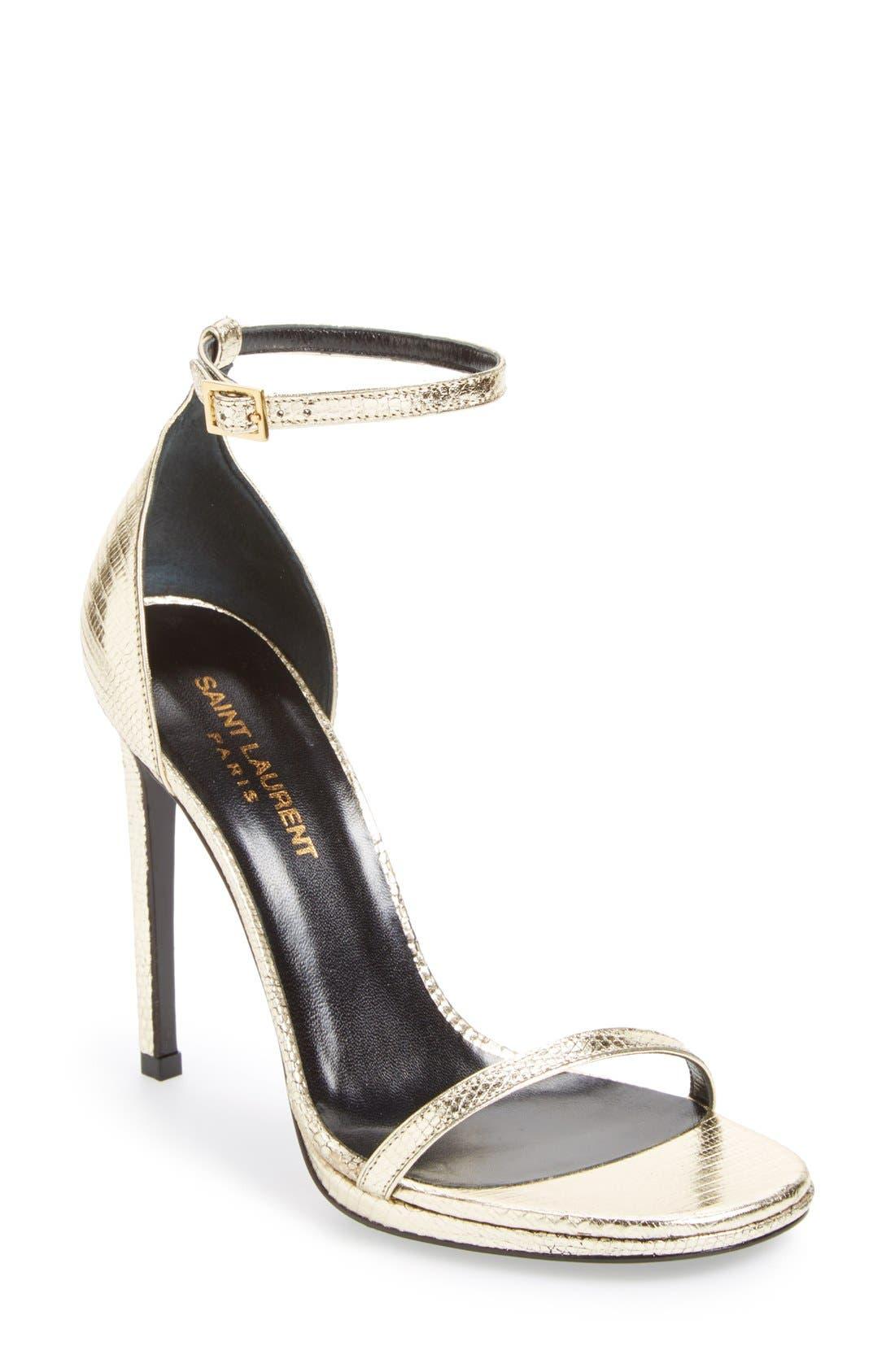 Alternate Image 1 Selected - Saint Laurent 'Jane' Metallic Lizard Embossed Ankle Strap Sandal (Women)