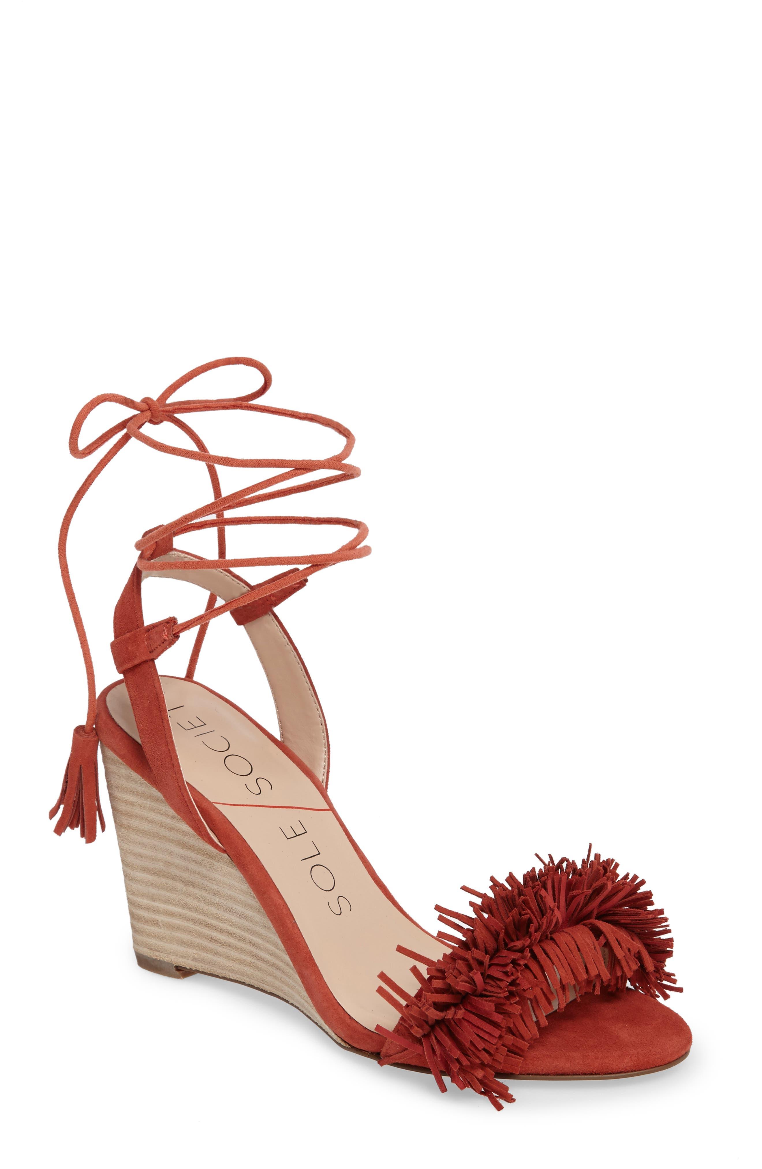 Sole Society Rosea Ankle Wrap Sandal (Women)
