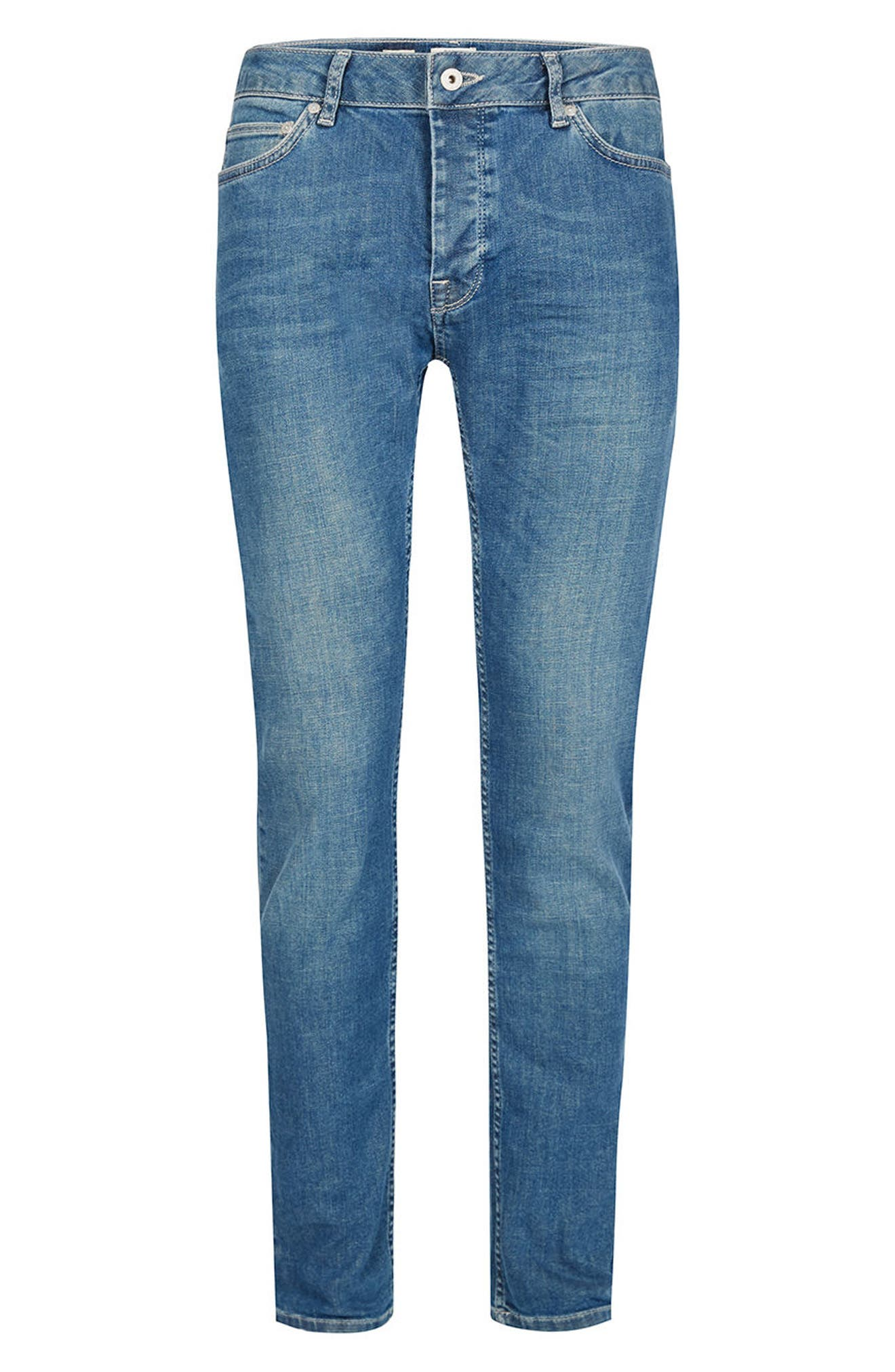 Stretch Skinny Fit Jeans,                             Alternate thumbnail 6, color,                             Mid Blue