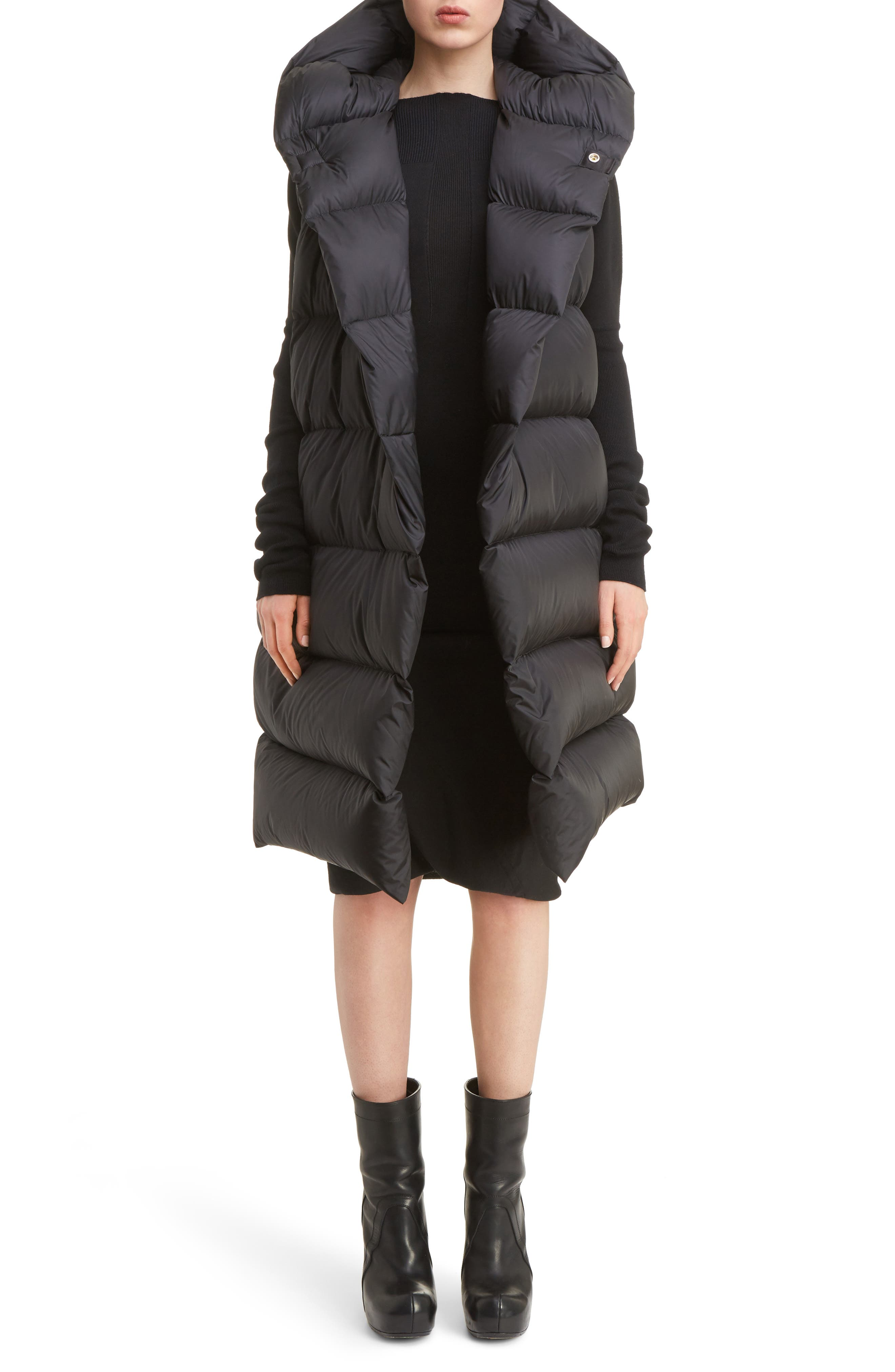 Oversized Down Puffer Vest,                         Main,                         color, Black