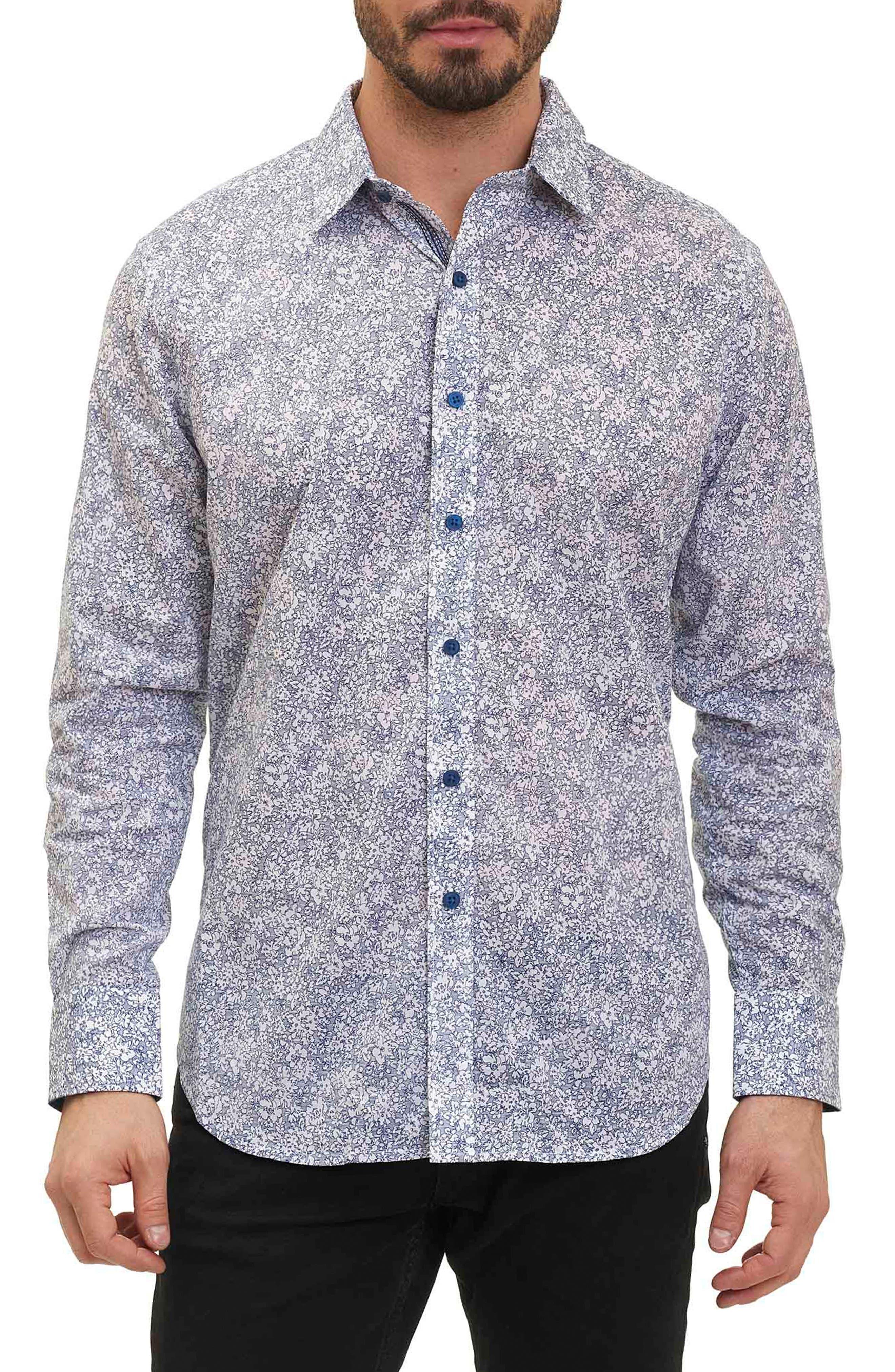 Moss Landing Classic Fit Floral Print Sport Shirt,                         Main,                         color, Indigo