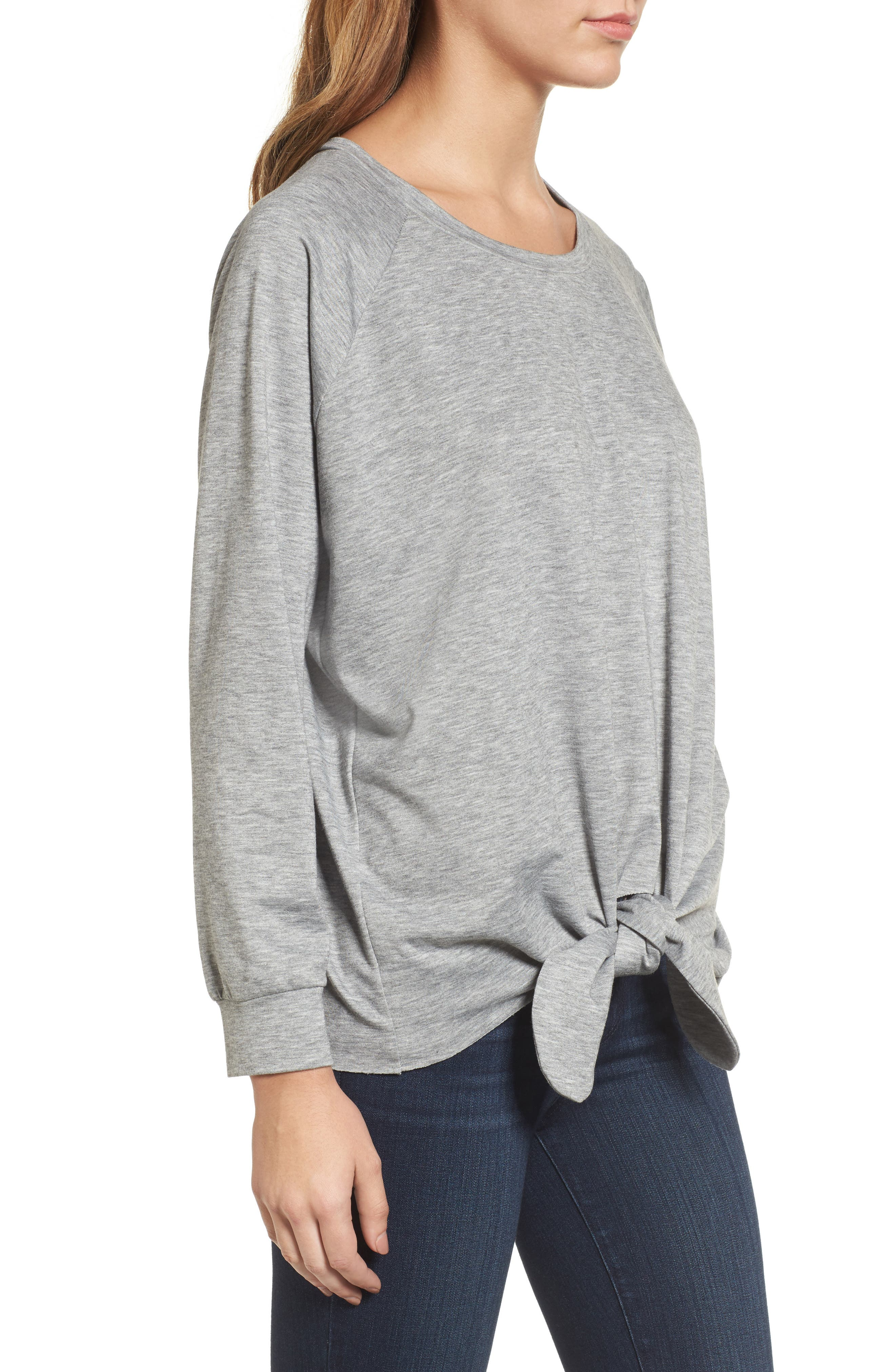 Alternate Image 3  - Caslon® Tie Front Sweatshirt (Regular & Petite)