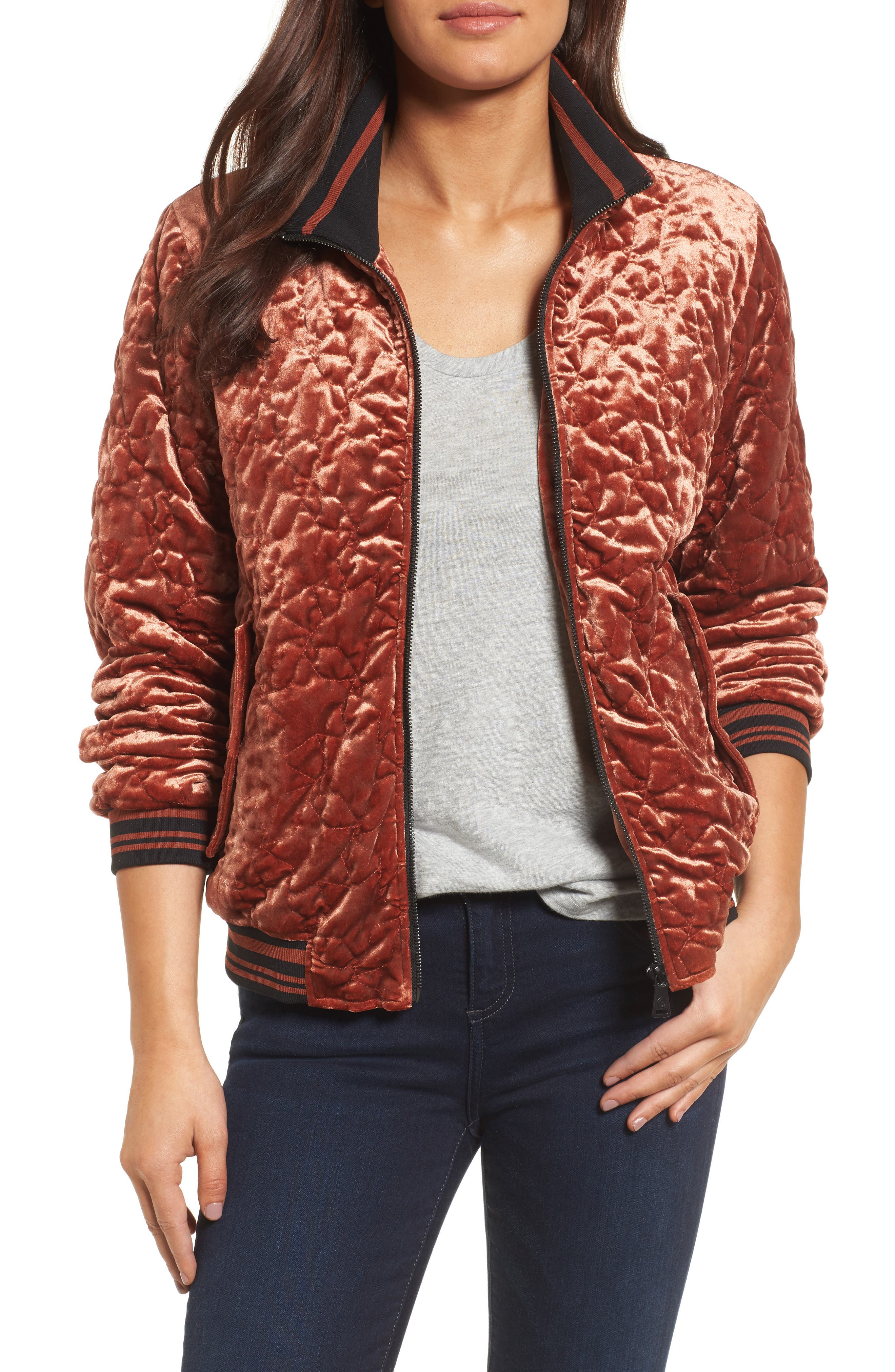 Quilted Velvet Bomber Jacket,                         Main,                         color, Mahogany