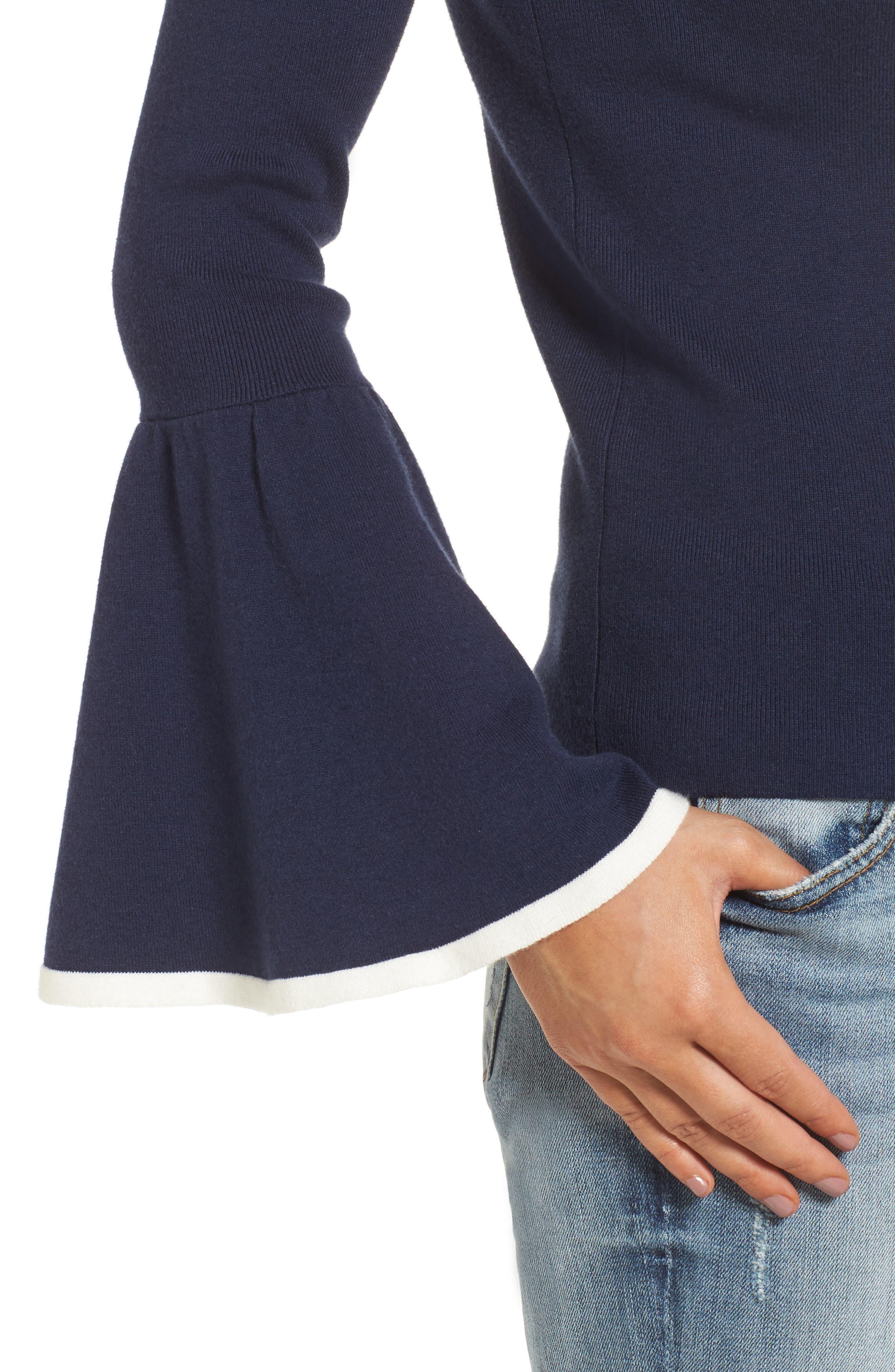 Flare Sleeve Sweater,                             Alternate thumbnail 5, color,                             Navy Peacoat