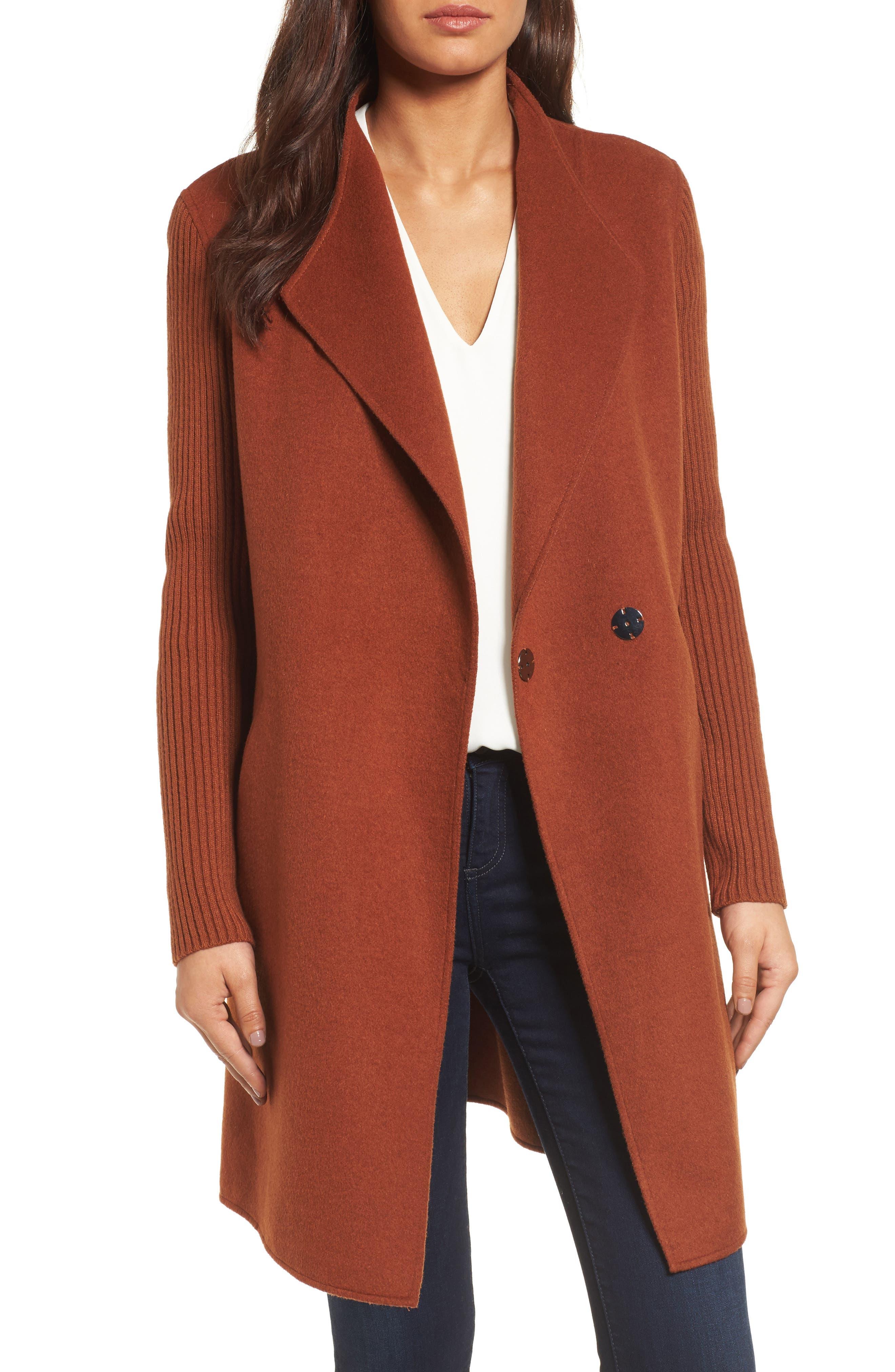 Double Face Coat,                         Main,                         color, Nutmeg