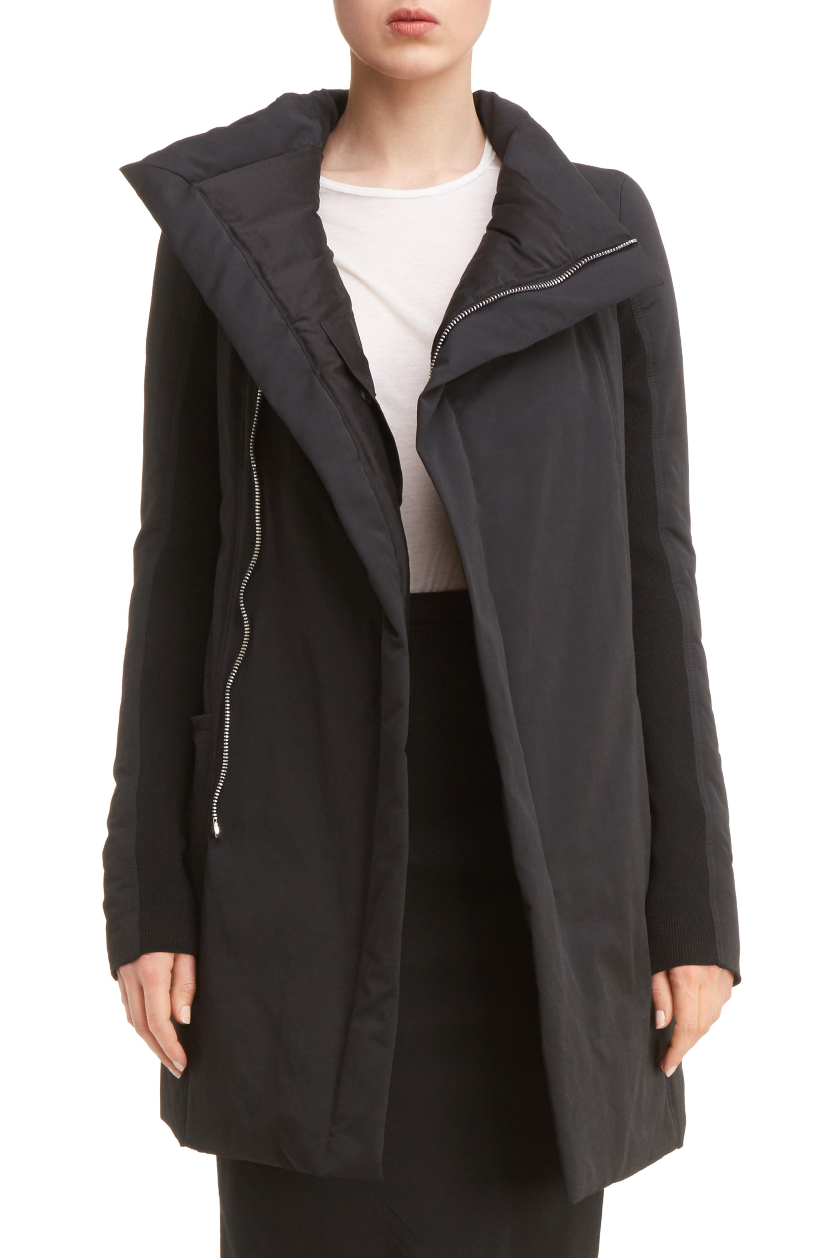 Fitted Down Coat,                         Main,                         color, Black