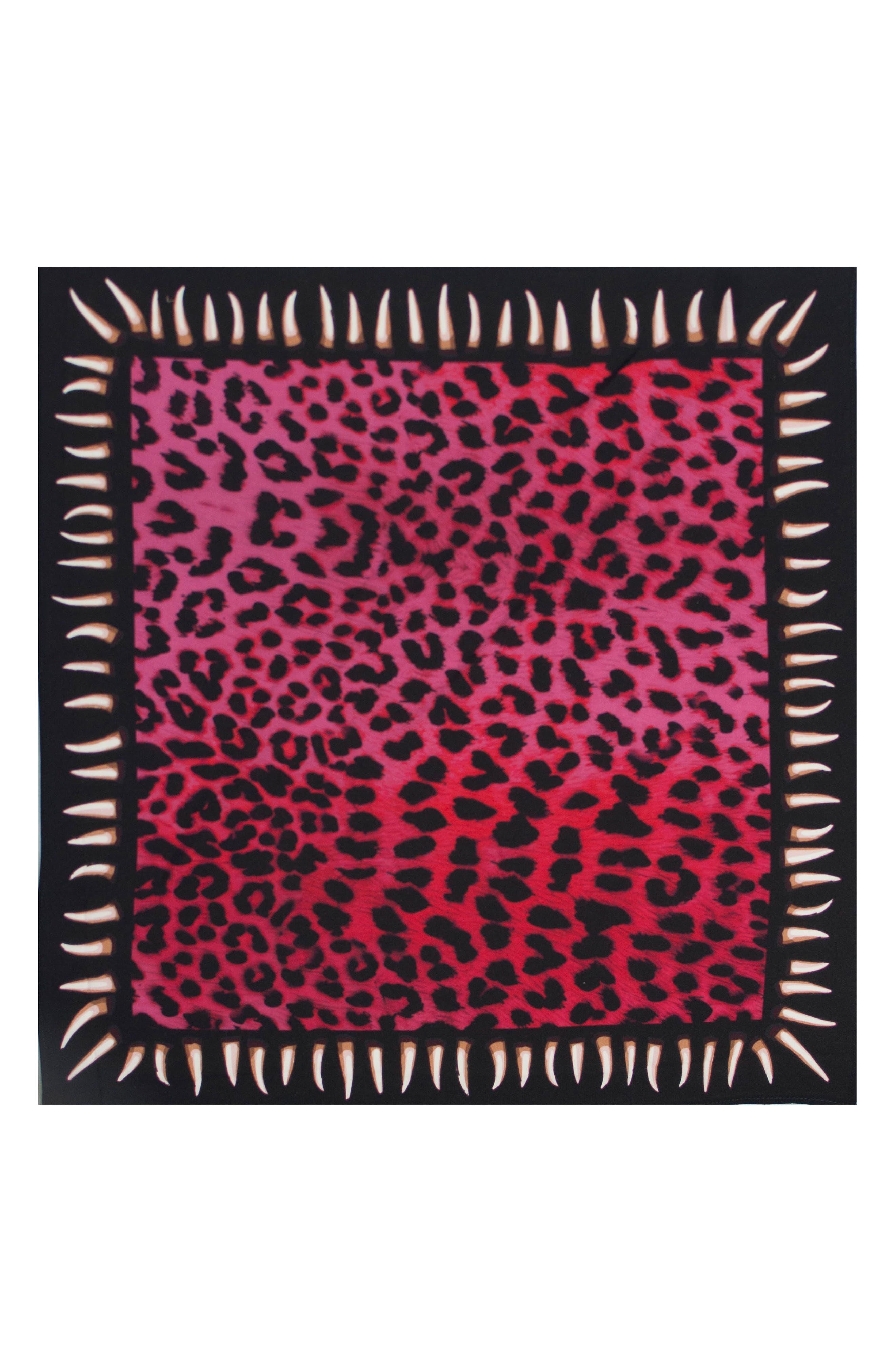 Leopard Teeth Silk Bandana,                             Alternate thumbnail 2, color,                             Fuchsia