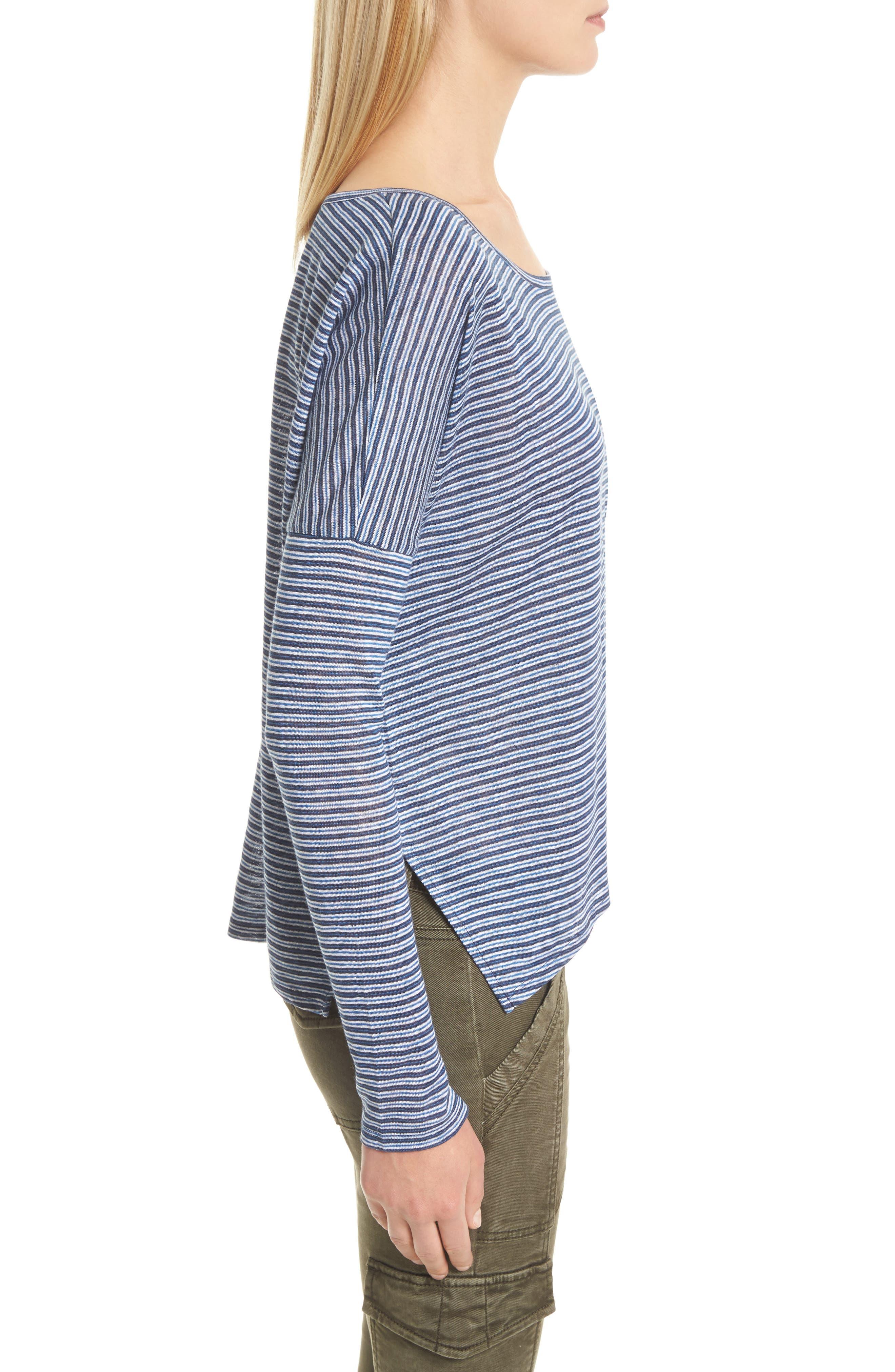Faya Stripe Linen Sweater,                             Alternate thumbnail 3, color,                             Moroccan Blue